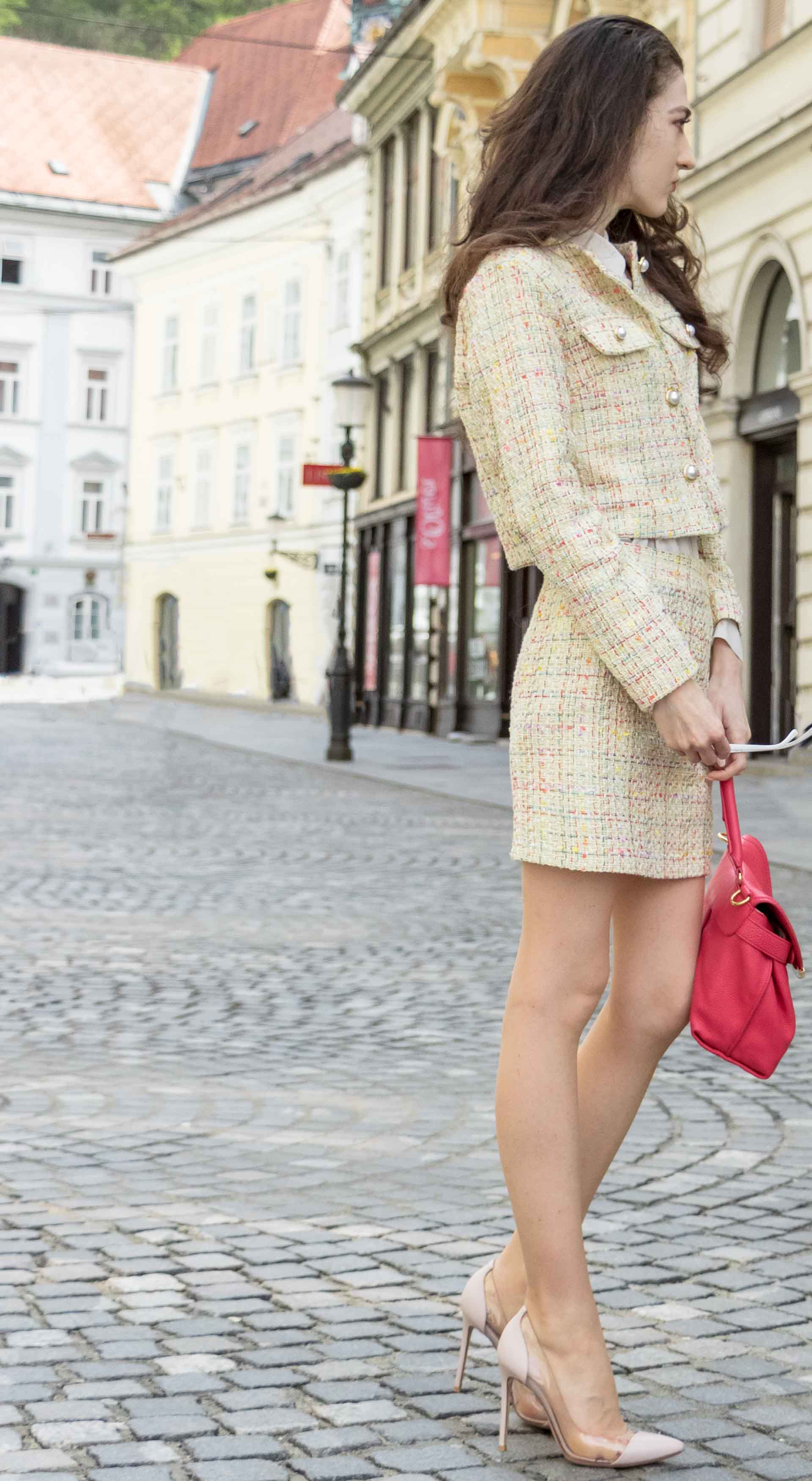 Fashion Blogger Veronika Lipar of Brunette from Wall Street wearing Storets yellow tweed mini skirt suit, Gianvito Rossi plexi pumps, See by Chloe pink top handle bagfor doctor's appointment