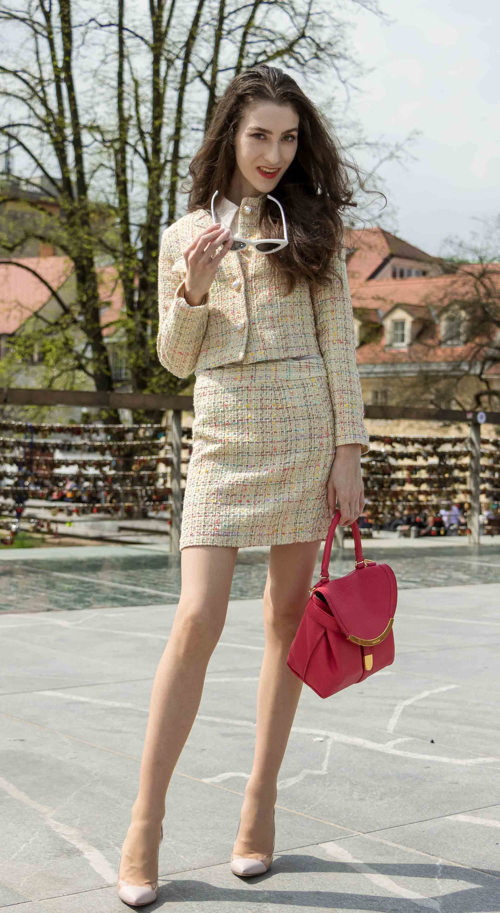 Fashion Blogger Veronika Lipar of Brunette from Wall Street wearing Storets yellow tweed mini skirt suit, Gianvito Rossi plexi pumps, See by Chloe pink top handle bag, Adam Selman x Lespecs white Lolita sunglasses on the bridge