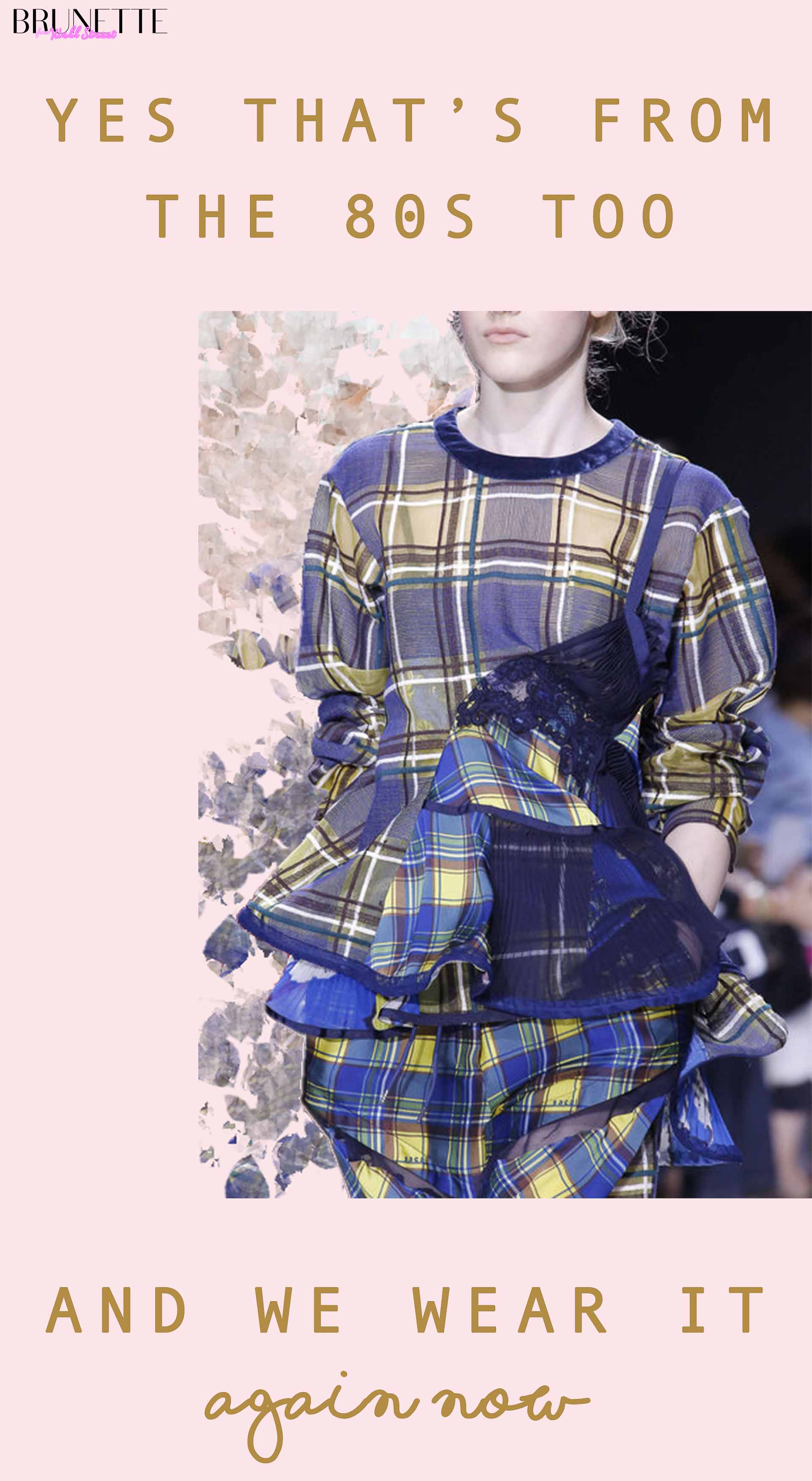 Plaid runway spring summer look with text overlay Yes that's from the 80s too and we wear it again now