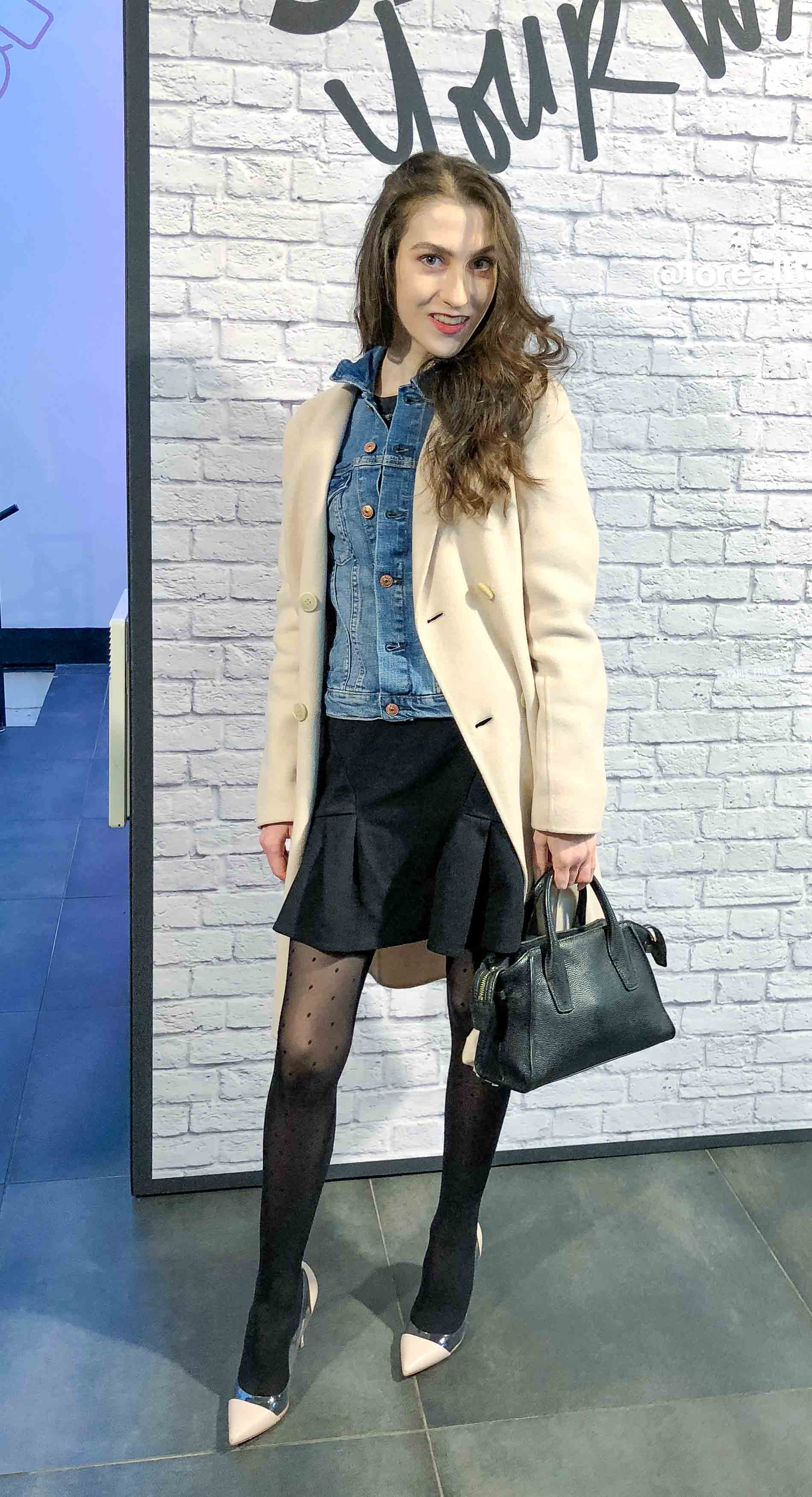 Fashion Blogger Veronika Lipar of Brunette from Wall Street off-white Weekend Maxmara coat, blue denim jacket, polka-dot black sheer tights, blush plexi shoes from Gianvito Rossi, black mini skirt for Paris during Paris fashion week autumn winter 2018/19