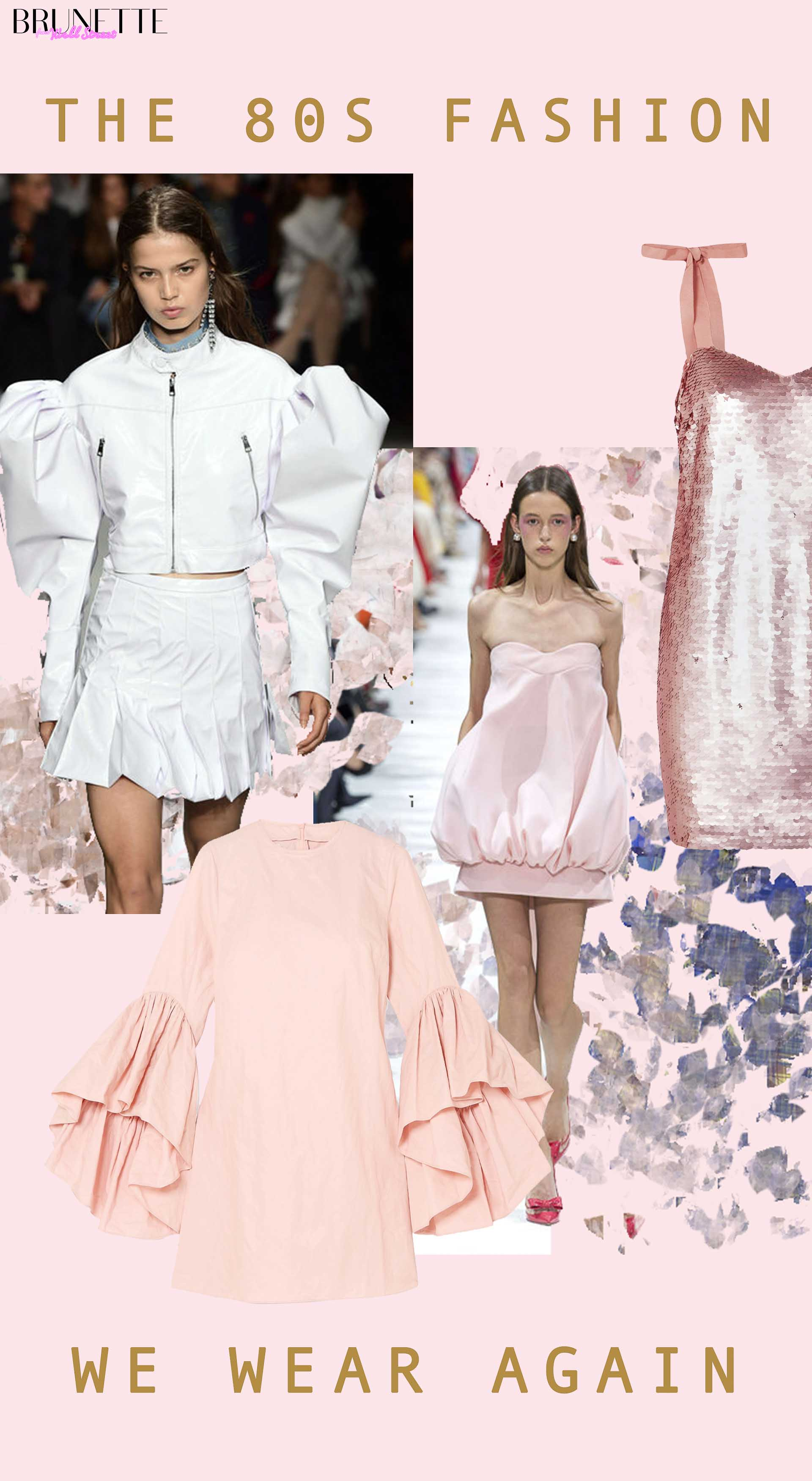White dress with bold shoulders puffed sleeves, pink dress, glittery dress with text overlay the 80s fashion we wear again