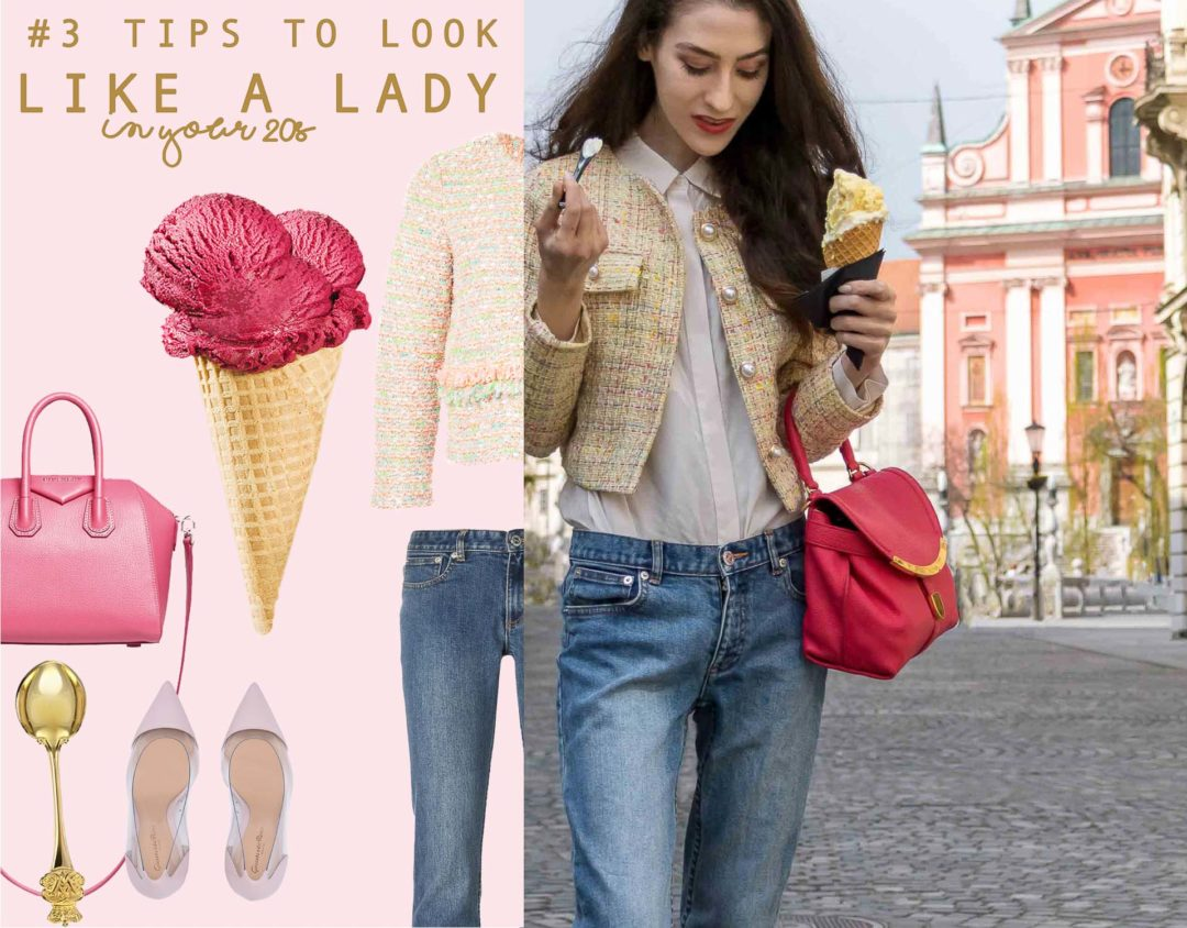 Veronika Lipar Fashion Blogger of Brunette from Wall Street wearing chic casual everyday spring outfit, the yellow tweed jacket from Storets, blue jeans from A.P.C., blush Gianvito Rossi plexi pumps, pink top handle bag and organza white shirt on the street eating ice cream