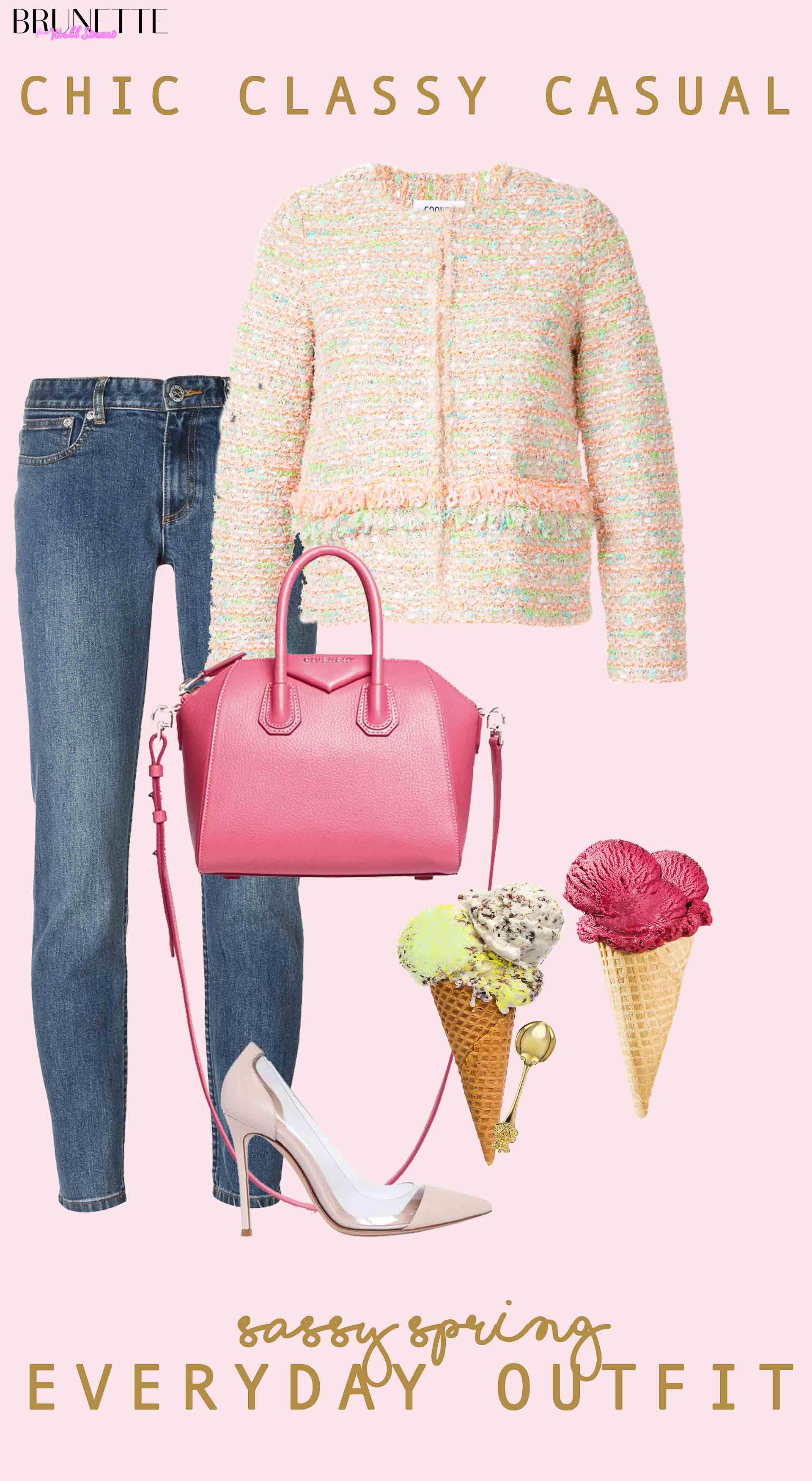 Yellow and pink tweed jacket, mom jeans, pink top handle tote bag, Gianvito Rossi plexi pumps, raspberry ice cream, pistachio stracciatella ice icream with text overlay Chic classy casual sassy spring everyday outfit