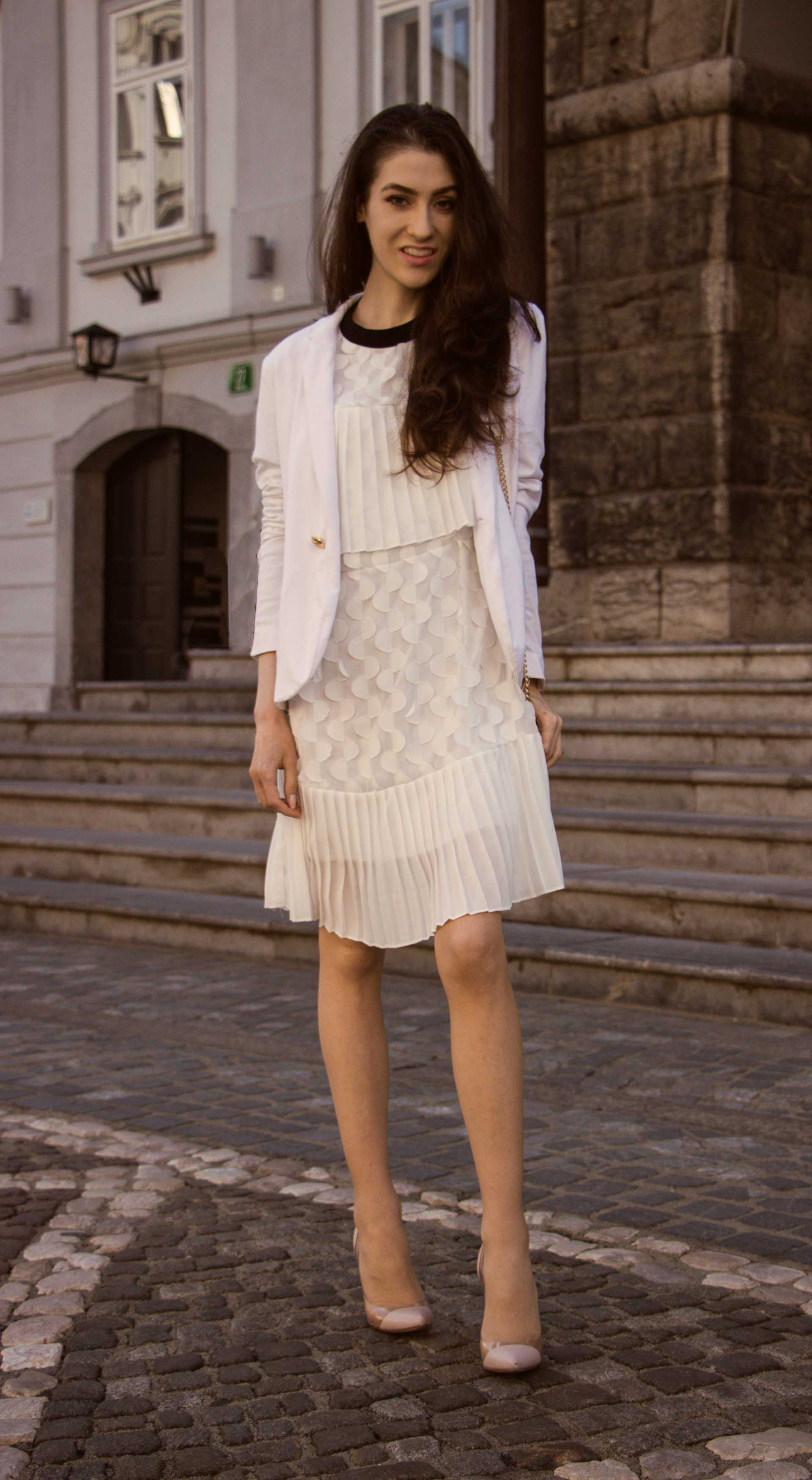 Veronika Lipar Fashion Blogger of Brunette from Wall Street wearing Storets little white dress, white Balmain blazer, Gianvito Rossi pumps for wedding at city hall