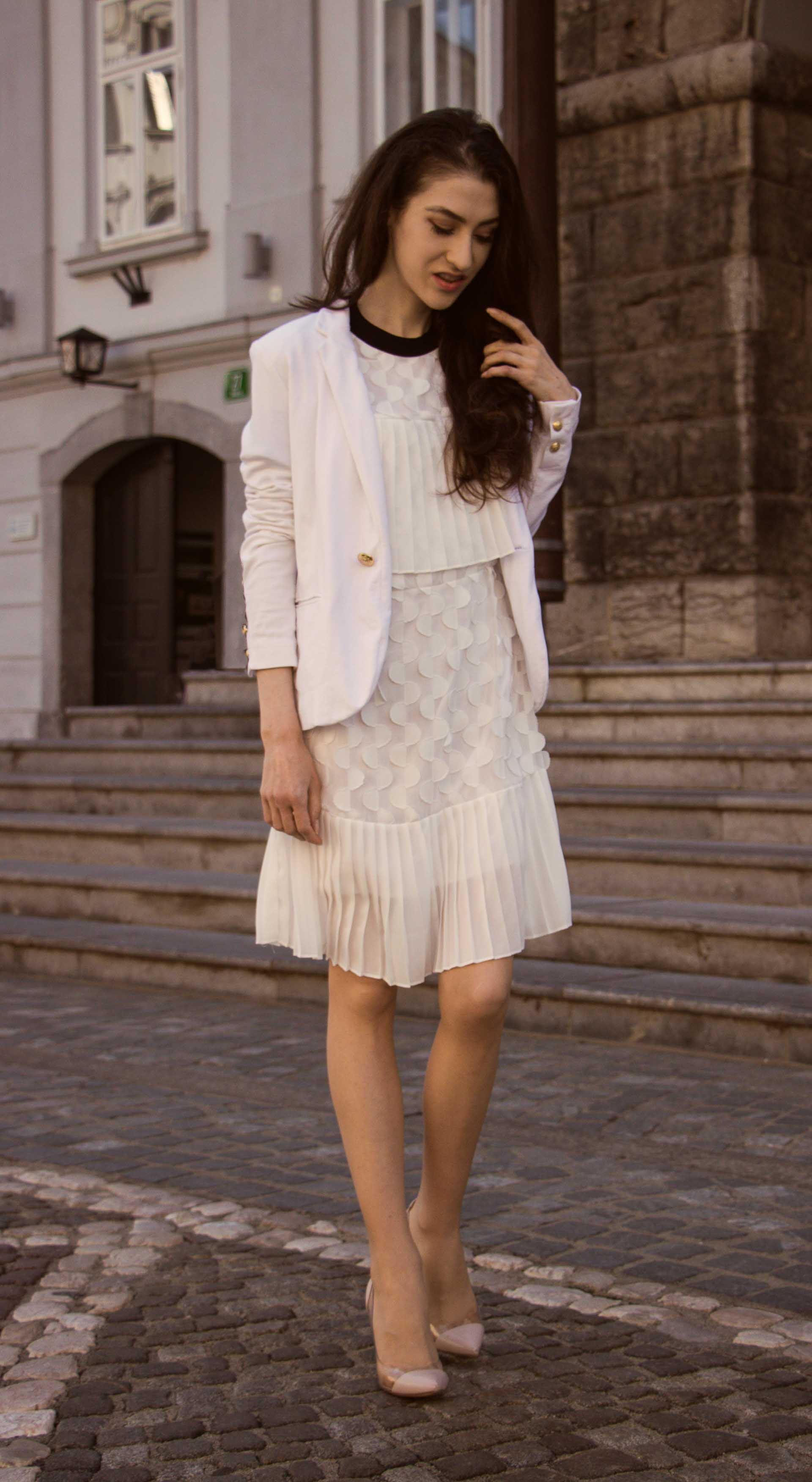 Veronika Lipar Fashion Blogger of Brunette from Wall Street wearing Storets little white dress, white Balmain blazer, Gianvito Rossi pumps for wedding at city hall in Ljubljana