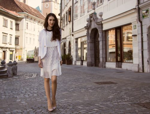 Veronika Lipar Fashion Blogger of Brunette from Wall Street dressed in Storets little white dress, white Balmain blazer, Gianvito Rossi pumps for wedding