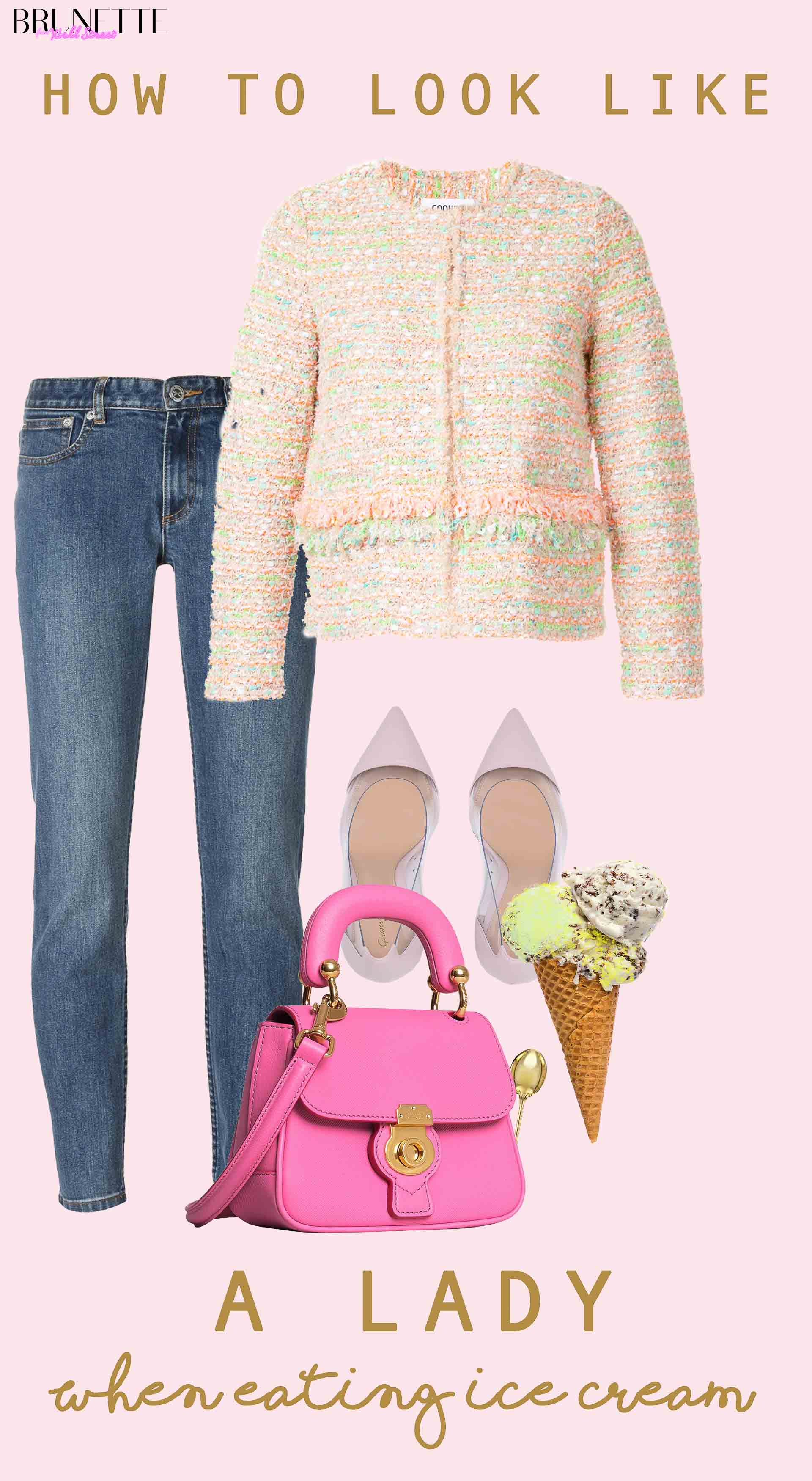 spring outfit with text overlay How to look like a lady when eating ice cream