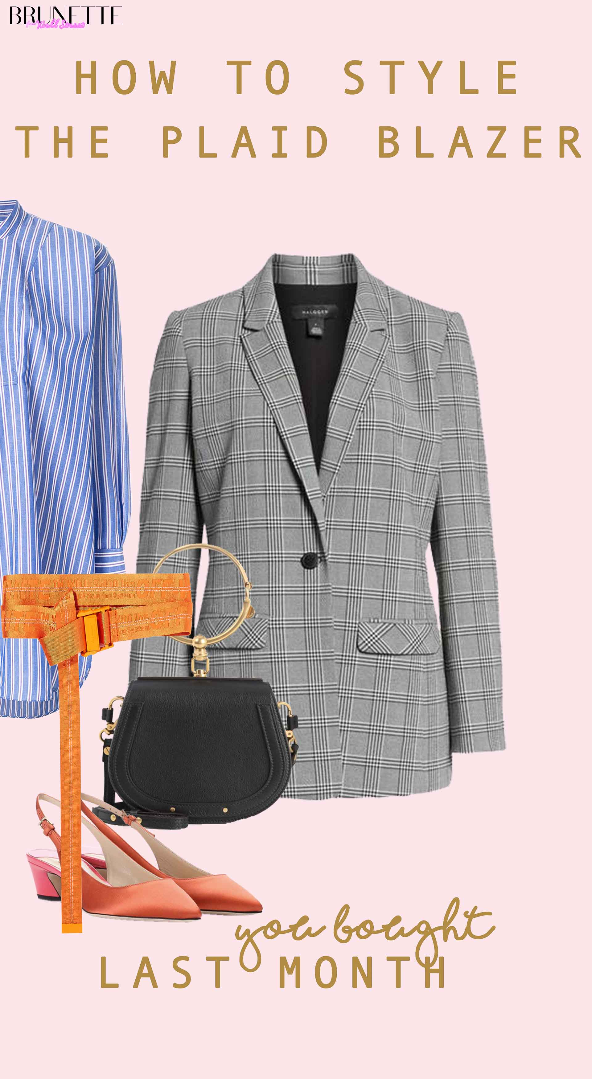 Blue shirtdress, orange off-white belt, slingback shoes, chloe bag, plaid blazer with text overlay How to stye Plaid blazer You bought last month for summer