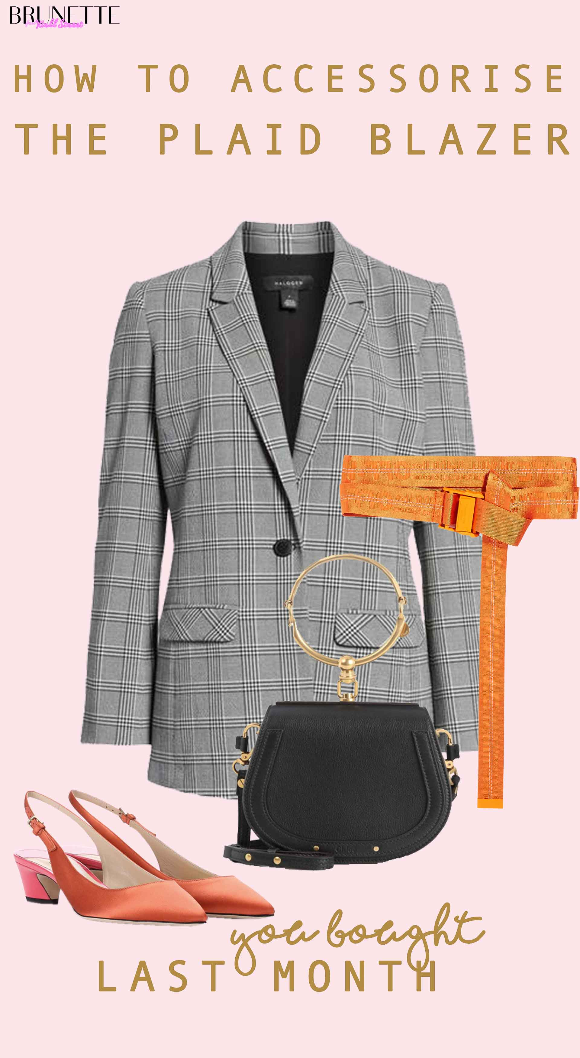 bronze slingback, off-white orange dangling belt, black Chloe nile bag, grey plaid blazer with text overlay How to stye accessorise Plaid blazer You bought last month