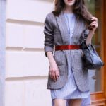 Veronika Lipar Fashion Blogger of Brunette from Wall Street wearing Erika Cavallini plaid blazer, blue striped shirtdress, red belt, brown court shoes, black top handle bag
