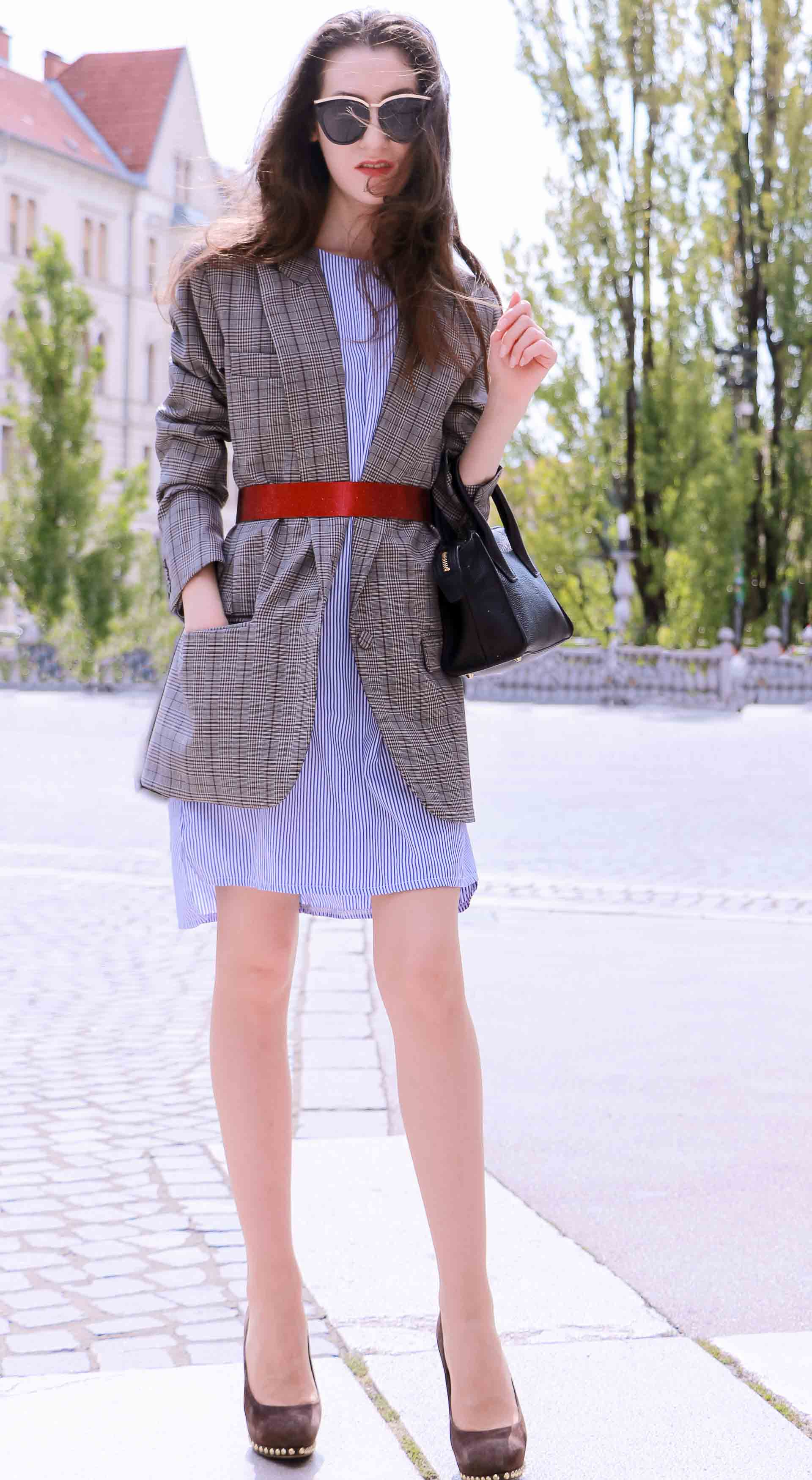 Veronika Lipar Fashion Blogger of Brunette from Wall Street wearing Erika Cavallini plaid blazer, blue striped shirtdress, red belt, brown court shoes, black top handle bag, Le Specs black sunglasses in spring