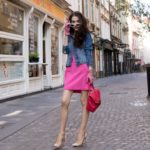 Veronika Lipar Fashion Blogger of Brunette from Wall Street wearing H&M denim jacket, pink bodycon dress, blush Gianvito Rossi plexi pumps, pink Forzieri gloves, See by Chloé pink top handle bag, Adam Selman x Le Specs white cat eye Lolita sunglasses