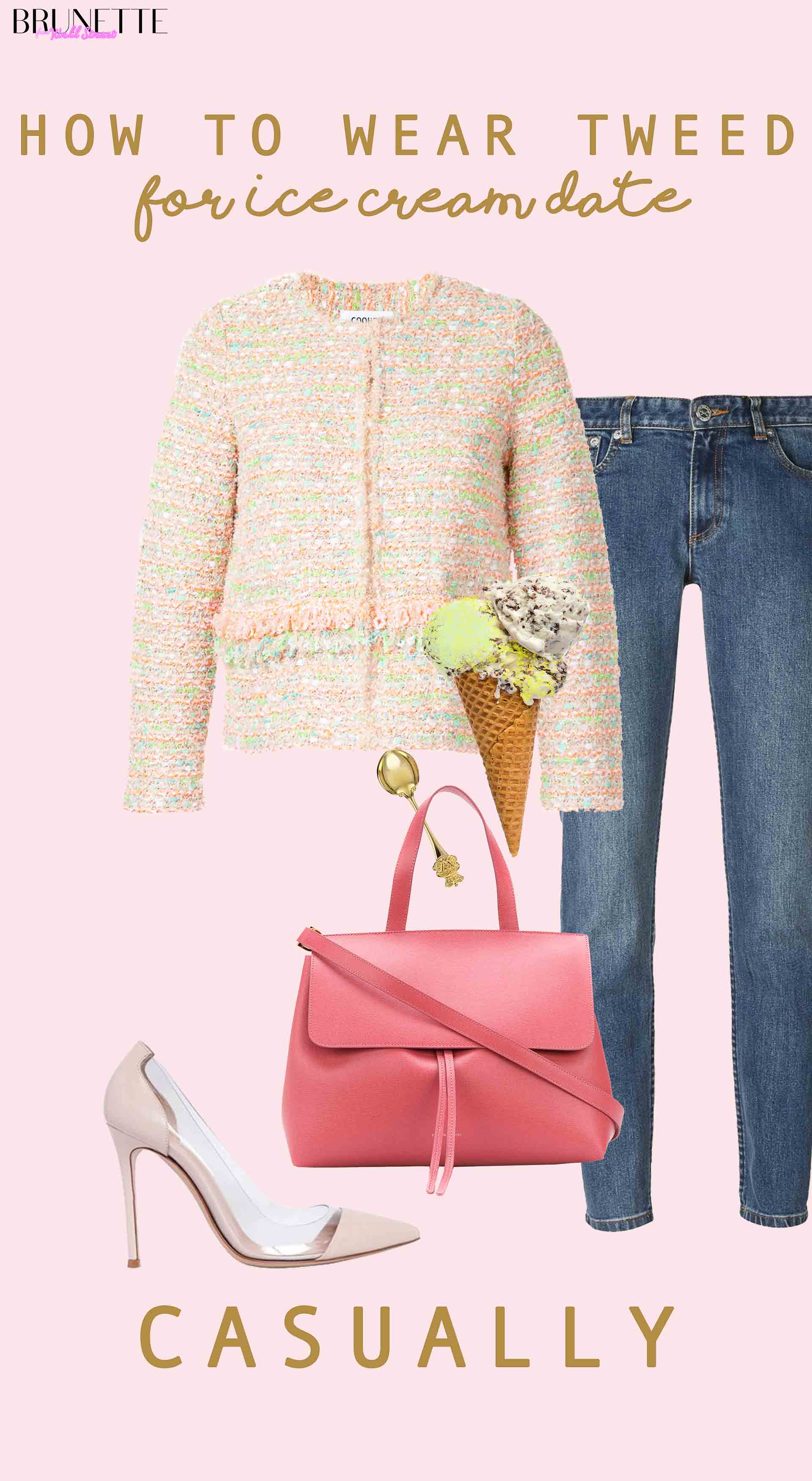 Ladylike Casual spring outfit with text overlay How to wear tweed for ice cream date casually