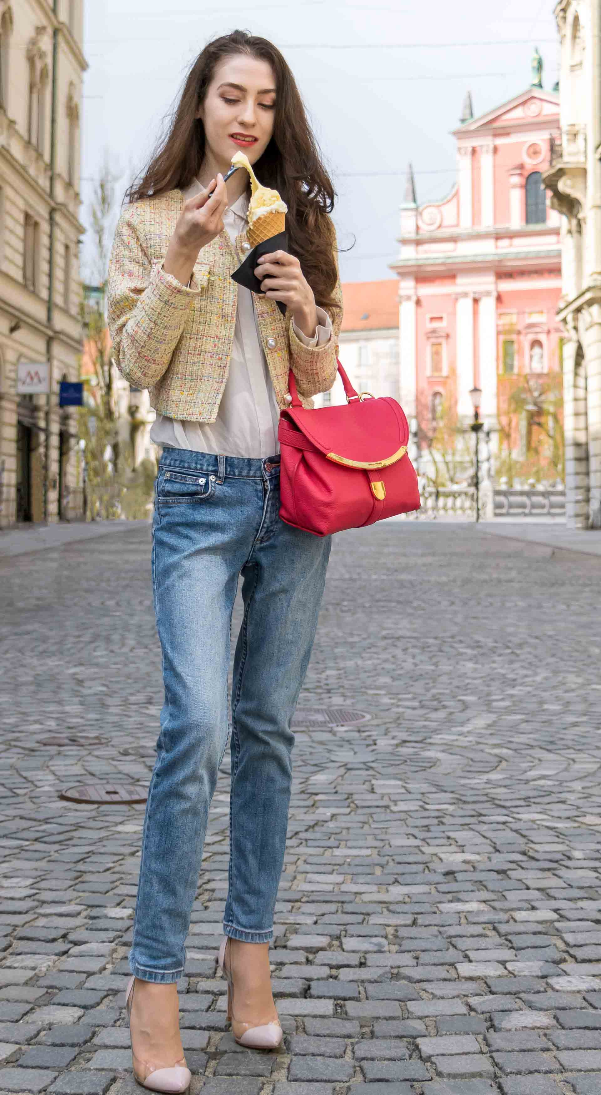 Veronika Lipar Fashion Blogger of Brunette from Wall Street wearing chic casual everyday spring outfit, the yellow tweed jacket from Storets, blue jeans from A.P.C., blush Gianvito Rossi plexi pumps, pink top handle bag and organza for ice cream date