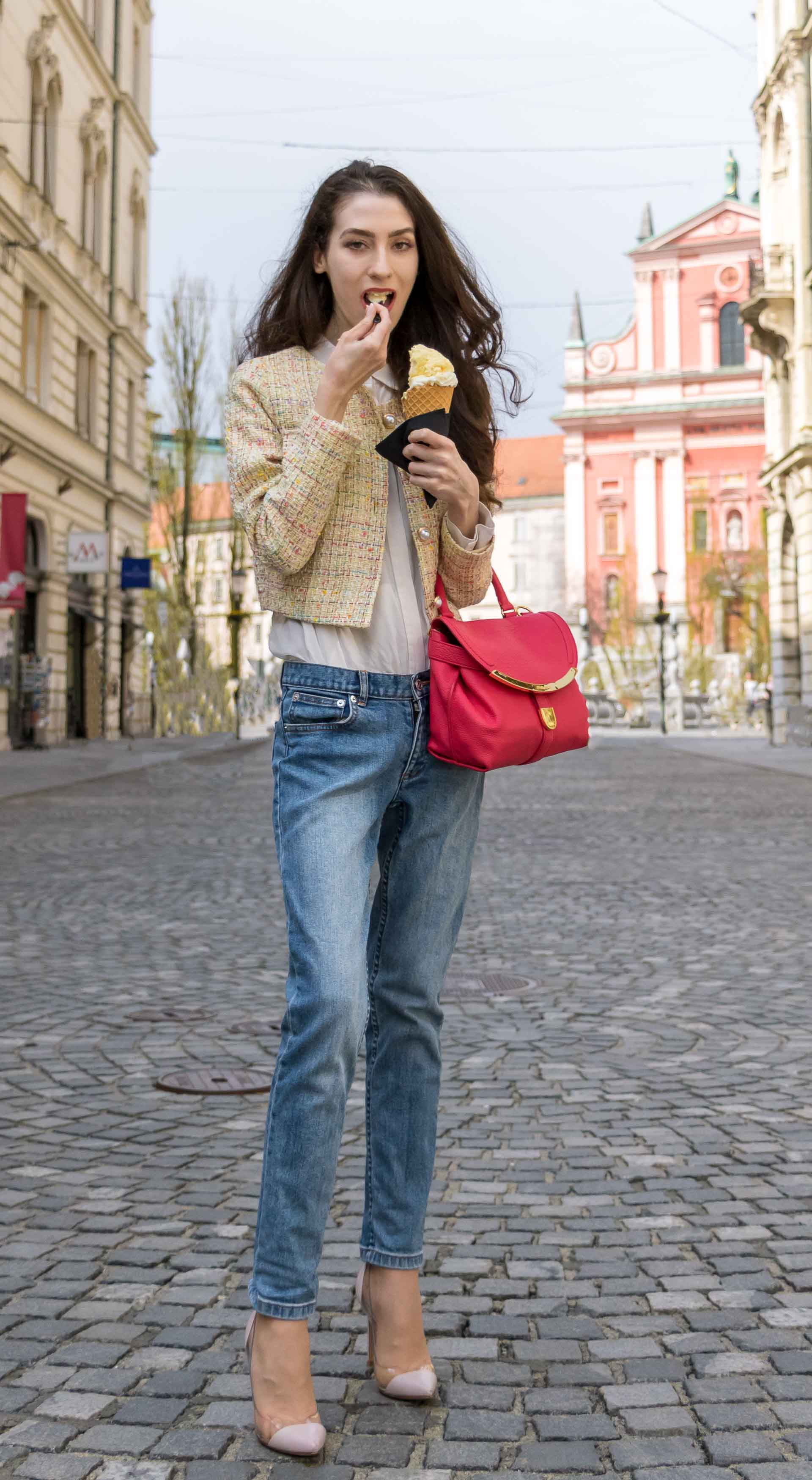 Veronika Lipar Fashion Blogger of Brunette from Wall Street wearing chic casual everyday spring outfit, the yellow tweed jacket from Storets, blue jeans from A.P.C., blush Gianvito Rossi plexi pumps, pink top handle bag and organza white shirt this spring
