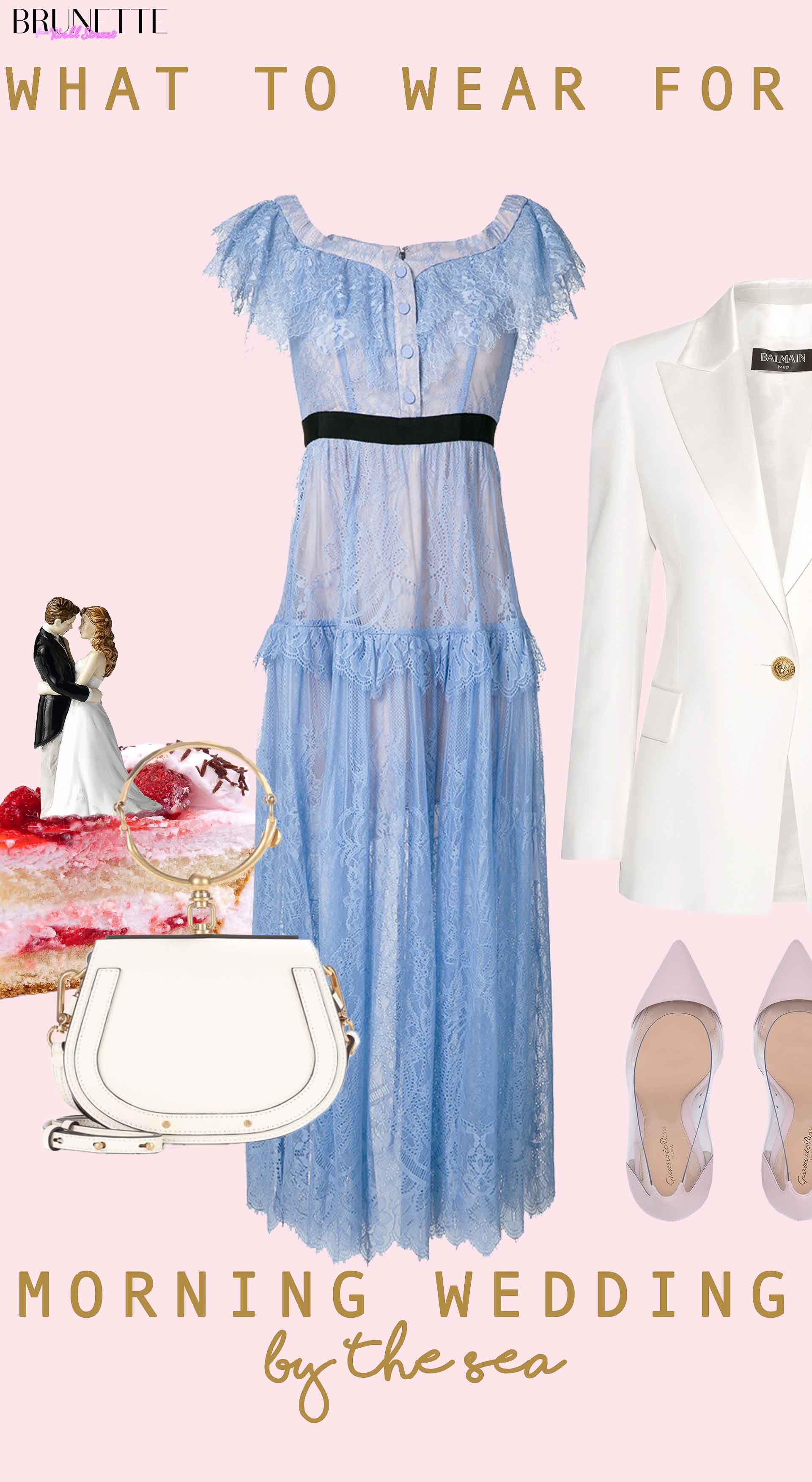 Blue lace dress from Self-Portrait, white Balmain blazer, Gianvito Rossi pumps, white Chloe Nile bag, Gucci bloom perfume, strawberry wedding cake with text overlay What to wear for Morning Wedding by the sea
