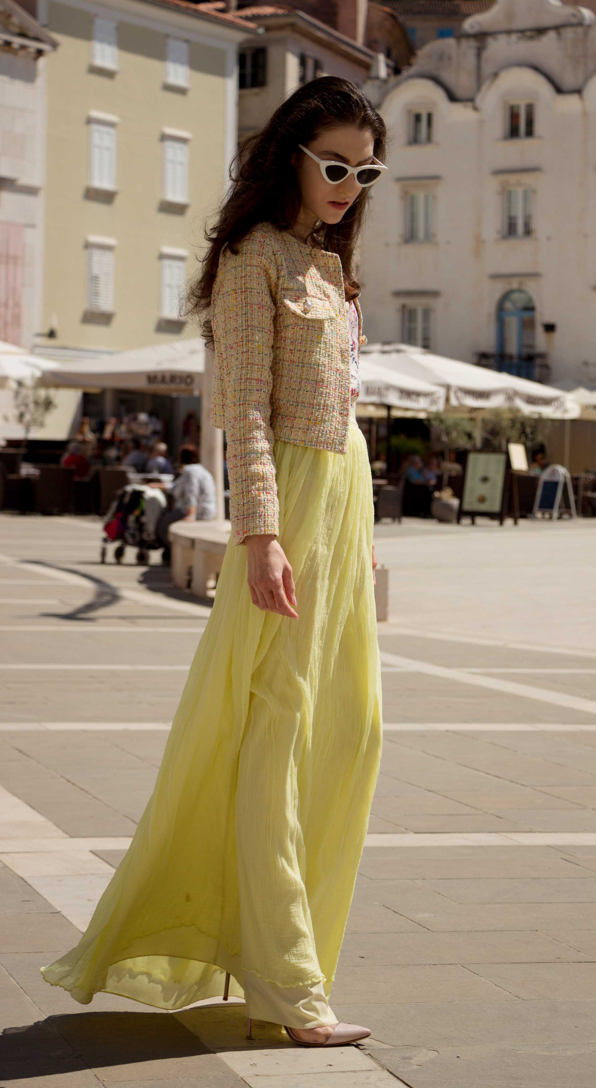 Veronika Lipar Fashion Blogger of Brunette from Wall Street wearing long yellow tulle skirt from Needle & Thread, short yellow tweed jacket from Storets, floral sik top, blush Gianvito Rossi plexi pumps, white shoulder bag, Lespecs white cat eye sunglasses