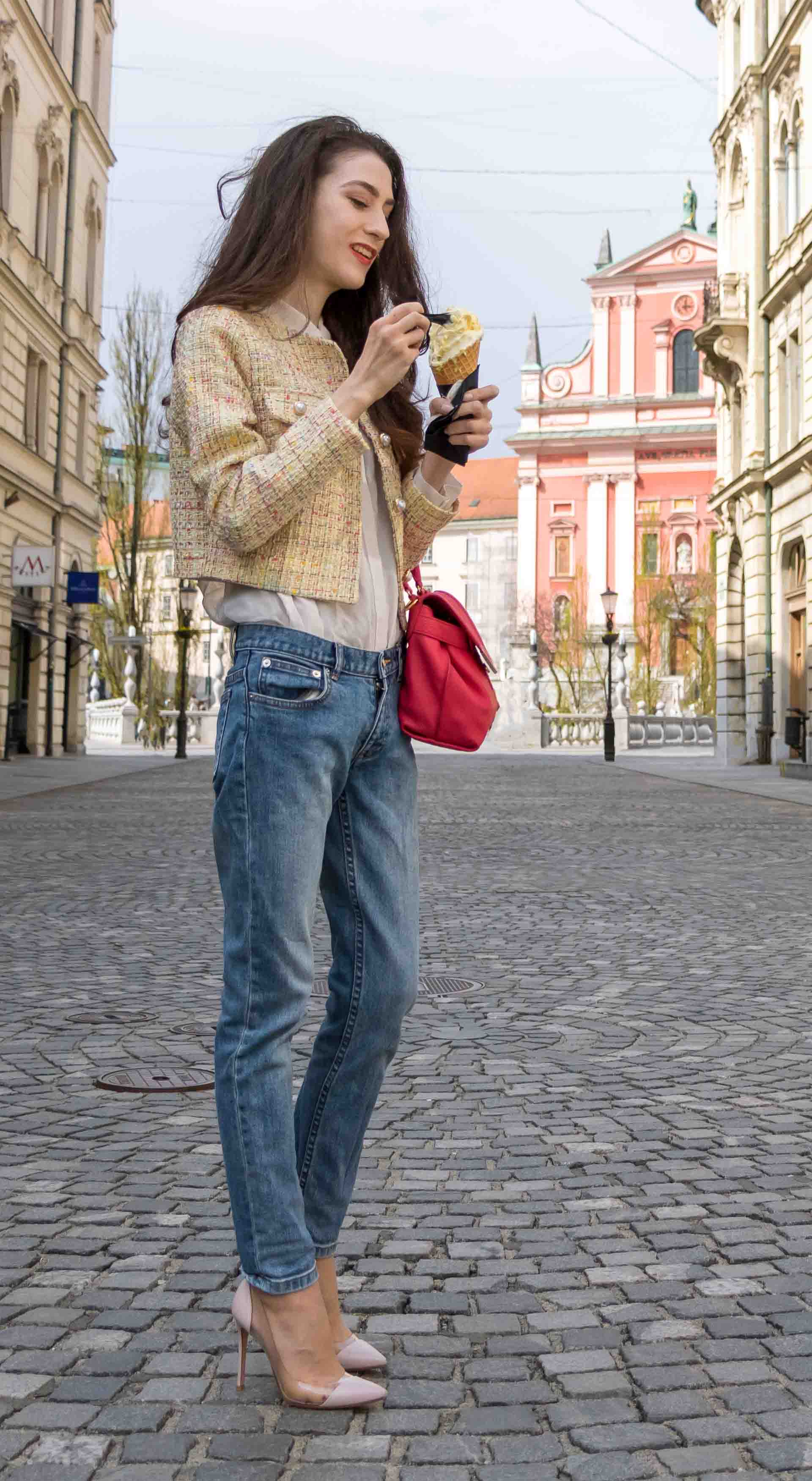 Veronika Lipar Fashion Blogger of Brunette from Wall Street dressed in chic casual everyday spring outfit, the yellow tweed jacket from Storets, blue jeans from A.P.C., blush Gianvito Rossi plexi pumps, pink top handle bag and organza for ice cream date