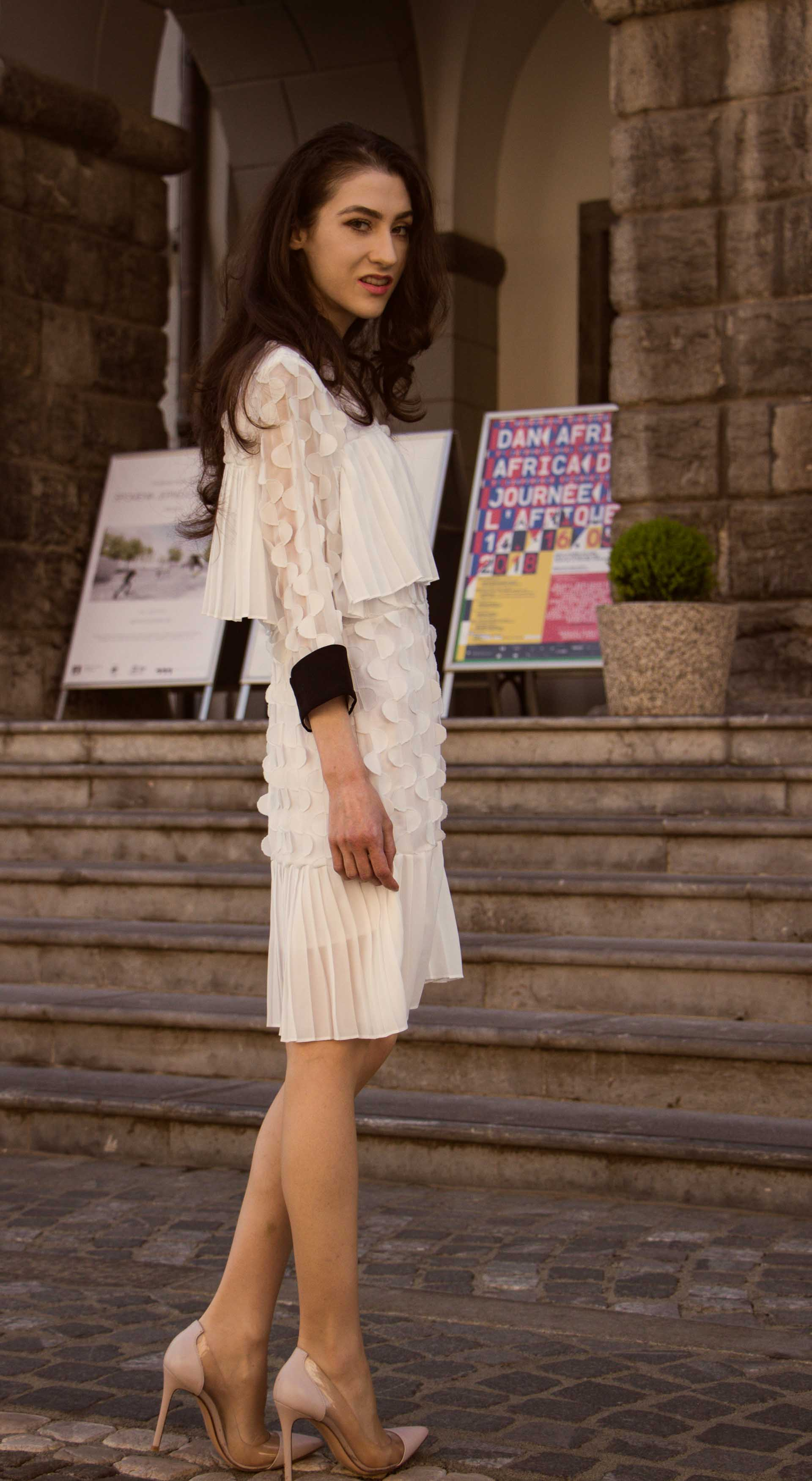 Veronika Lipar Fashion Blogger of Brunette from Wall Street dressed in Storets little white dress, Gianvito Rossi pumps for Wednesday wedding at city hall in Ljubljana