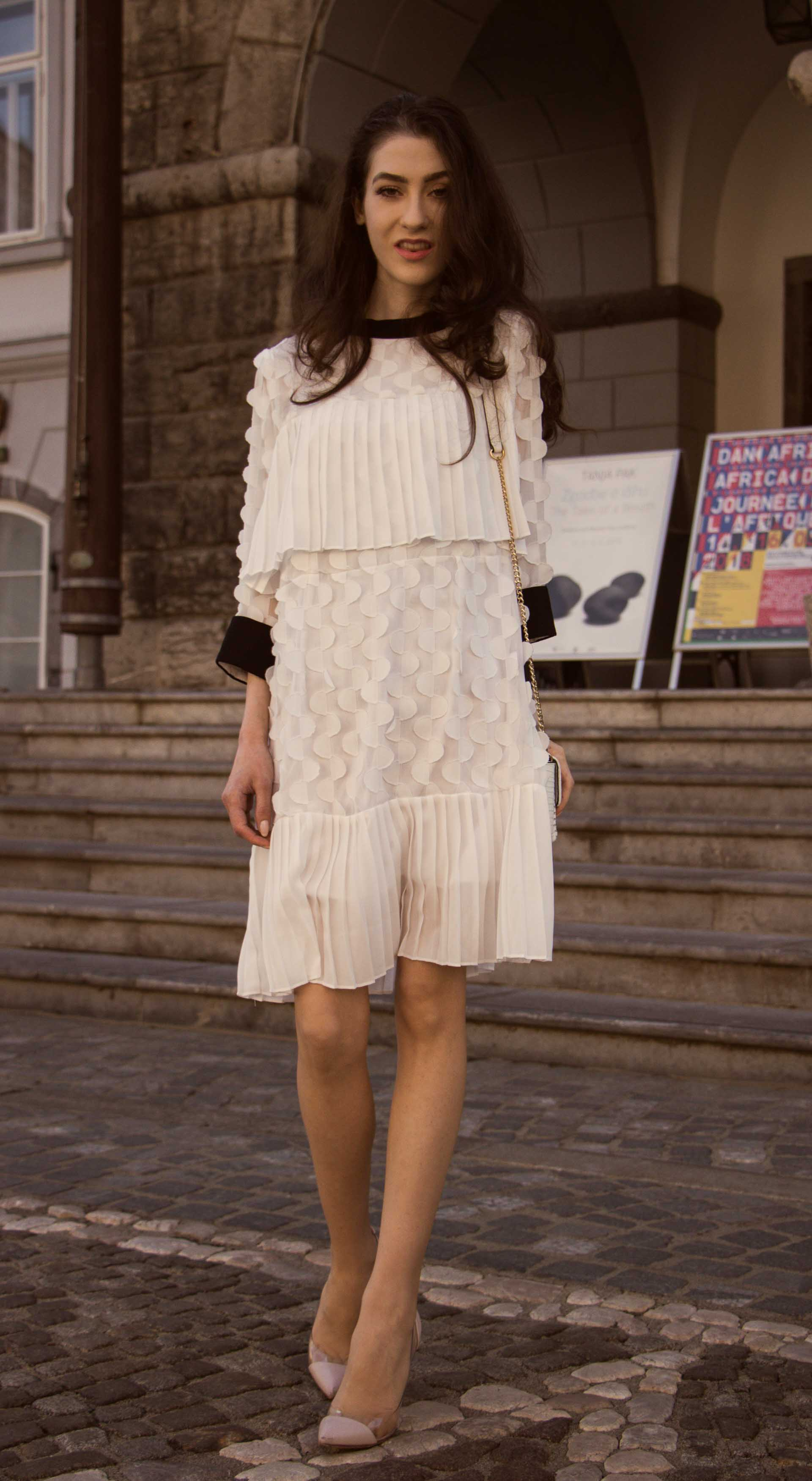 Veronika Lipar Fashion Blogger of Brunette from Wall Street wearing Storets little white dress, Gianvito Rossi pumps for wedding at city hall in Ljubljana
