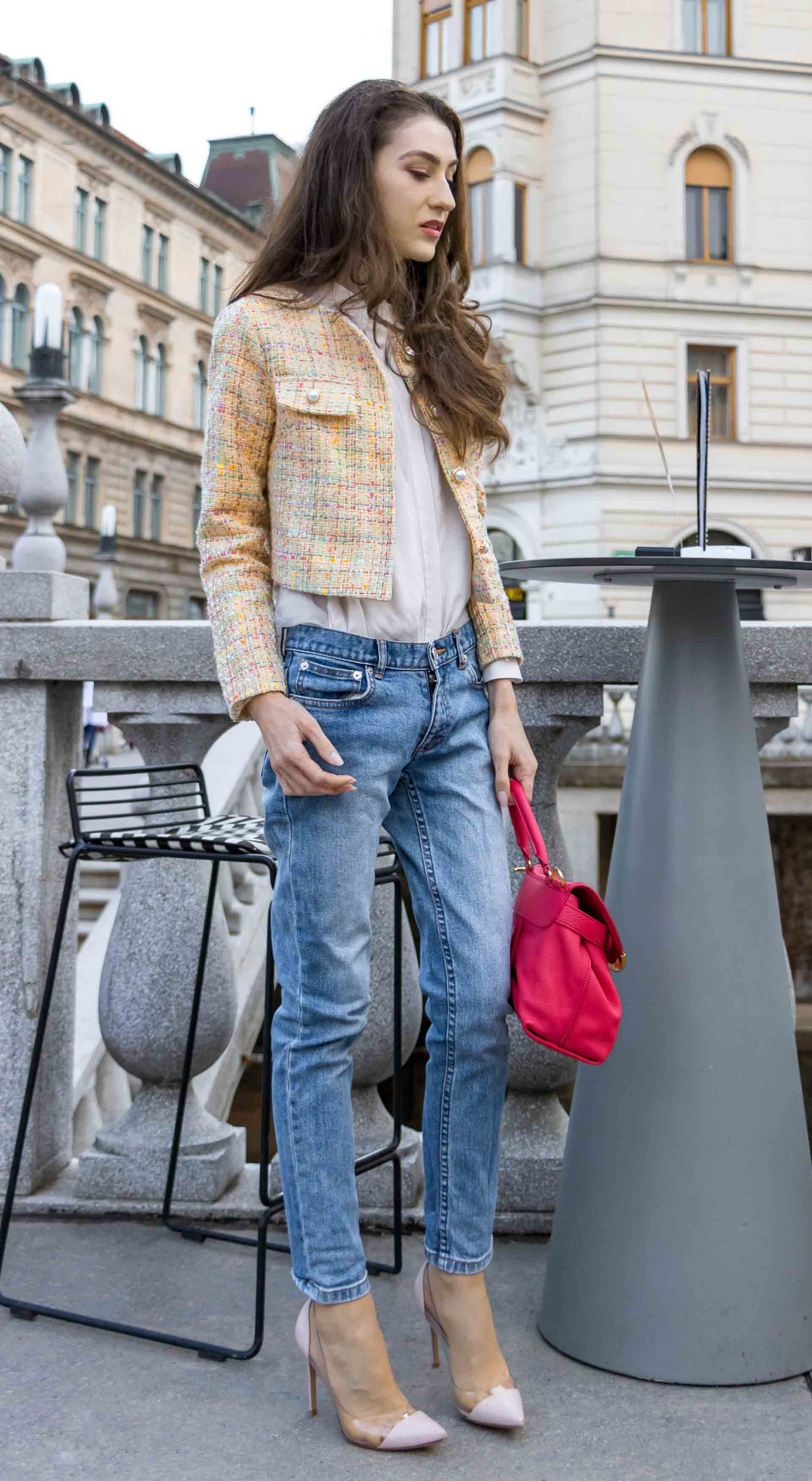 Veronika Lipar Fashion Blogger of Brunette from Wall Street wearing chic casual everyday spring outfit, the yellow tweed jacket from Storets, blue jeans from A.P.C., blush Gianvito Rossi plexi pumps, pink top handle bag and organza white shirt for drink date