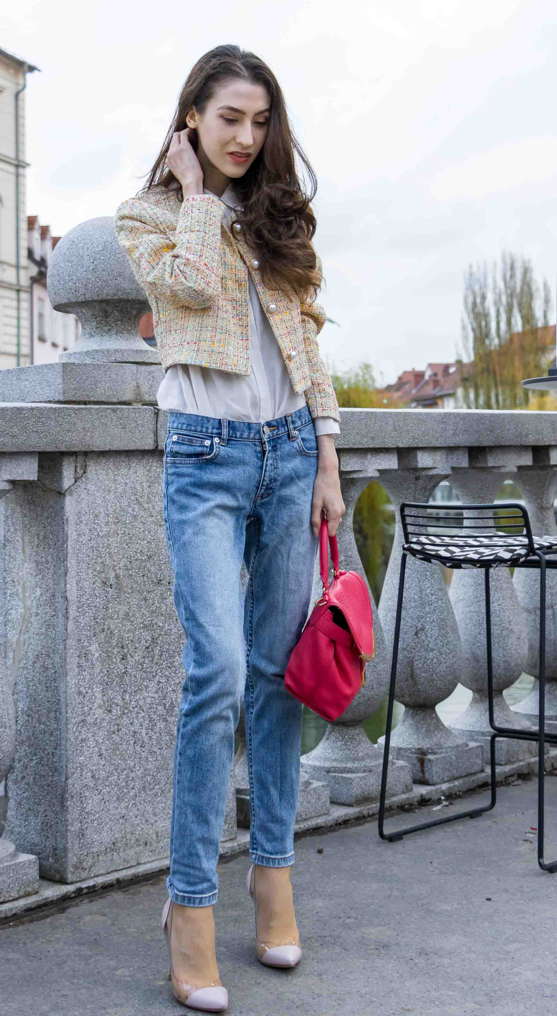 Veronika Lipar Fashion Blogger of Brunette from Wall Street wearing chic casual everyday spring outfit, the yellow tweed jacket from Storets, blue jeans from A.P.C., blush Gianvito Rossi plexi pumps, pink top handle bag and organza white shirt on Sunday