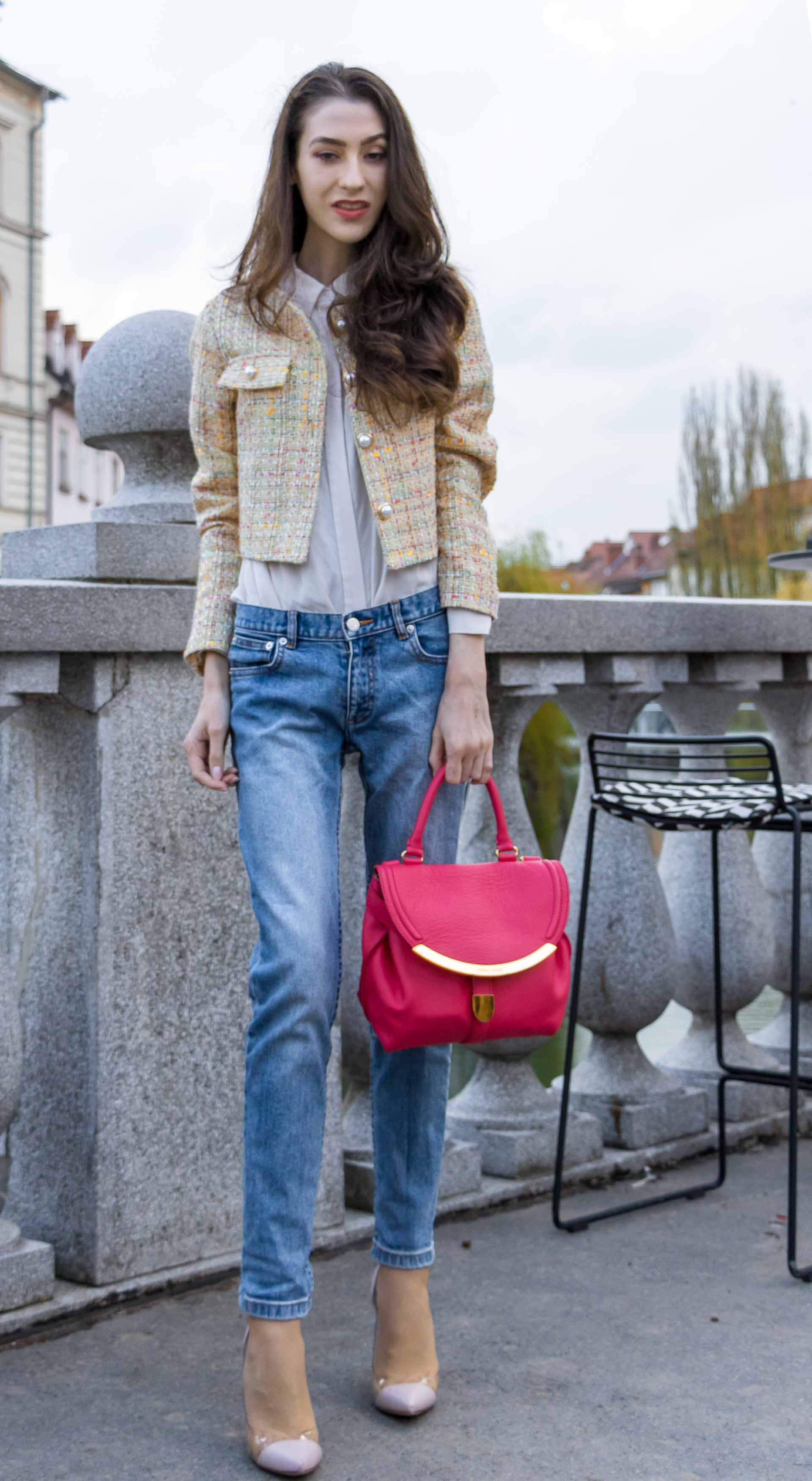Veronika Lipar Fashion Blogger of Brunette from Wall Street dressed in chic casual everyday spring outfit, the yellow tweed jacket from Storets, blue jeans from A.P.C., blush Gianvito Rossi plexi pumps, pink top handle bag and organza white shirt for Sunday brunch