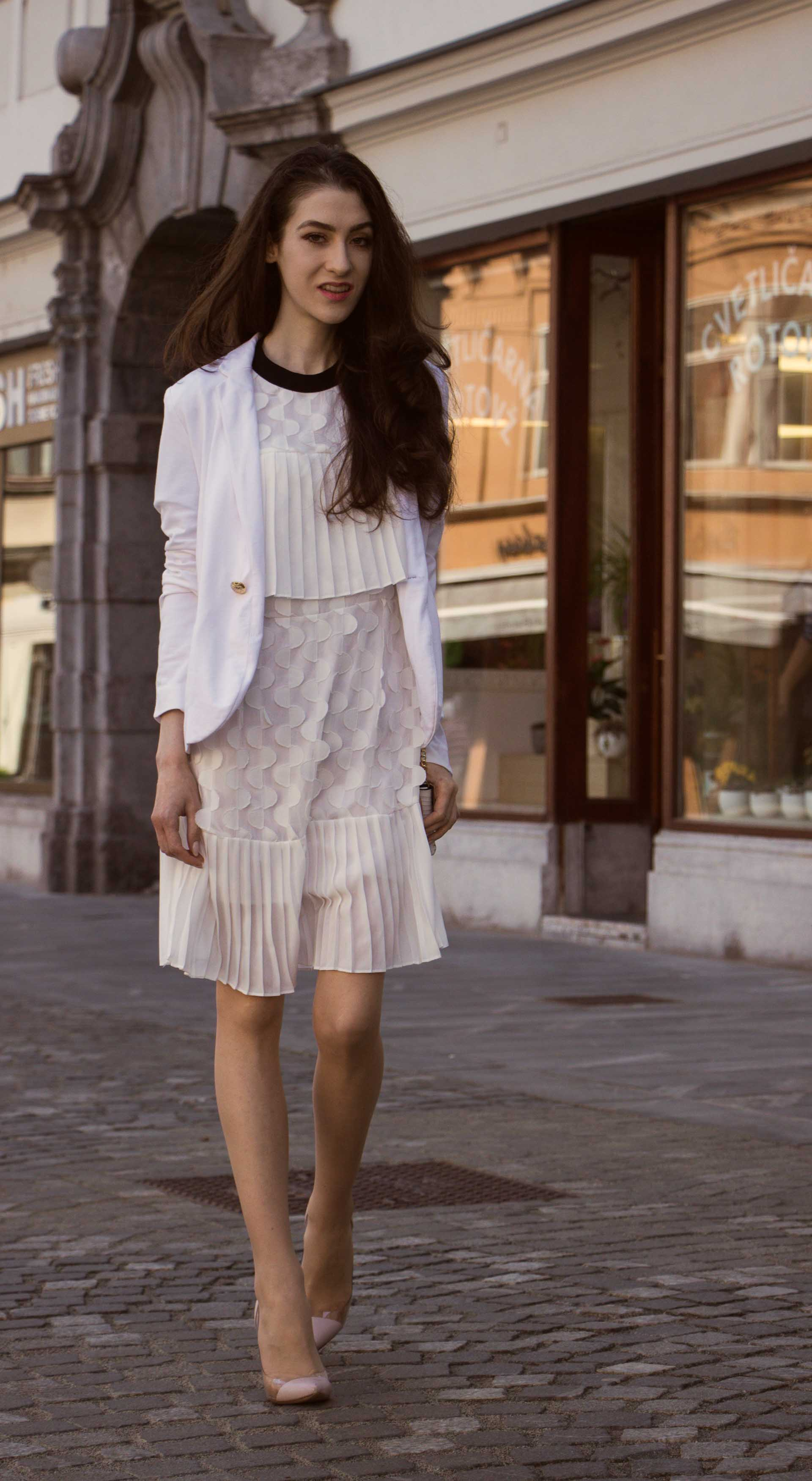 Veronika Lipar Fashion Blogger of Brunette from Wall Street wearing Storets little white dress, white tailored blazer, Gianvito Rossi pumps for wedding at city hall