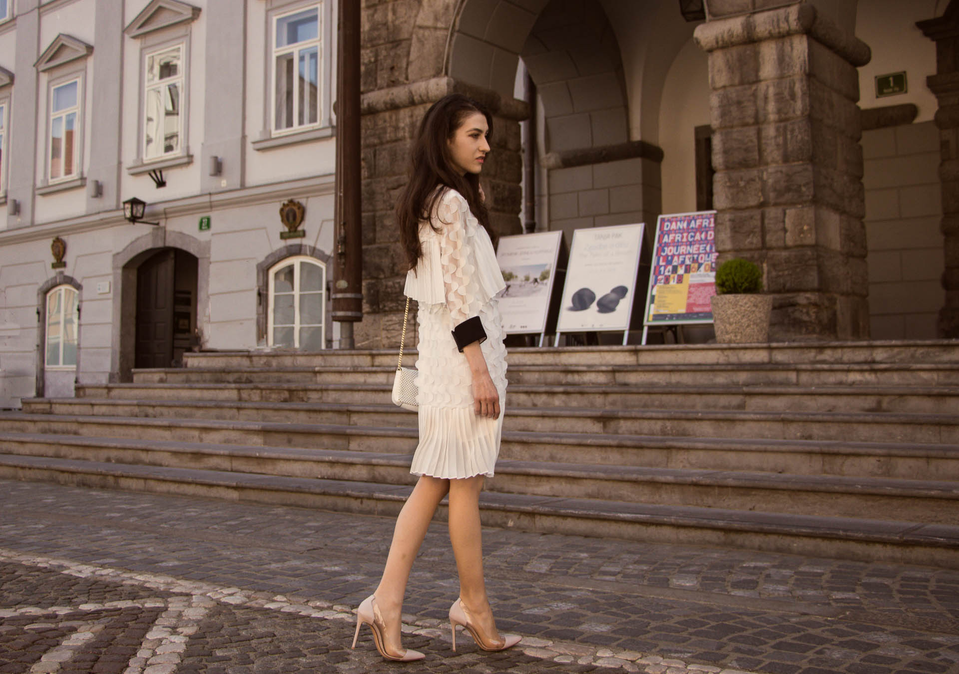 Veronika Lipar Fashion Blogger of Brunette from Wall Street dressed in Storets little white dress, Gianvito Rossi pumps for wedding at city hall in Ljubljana