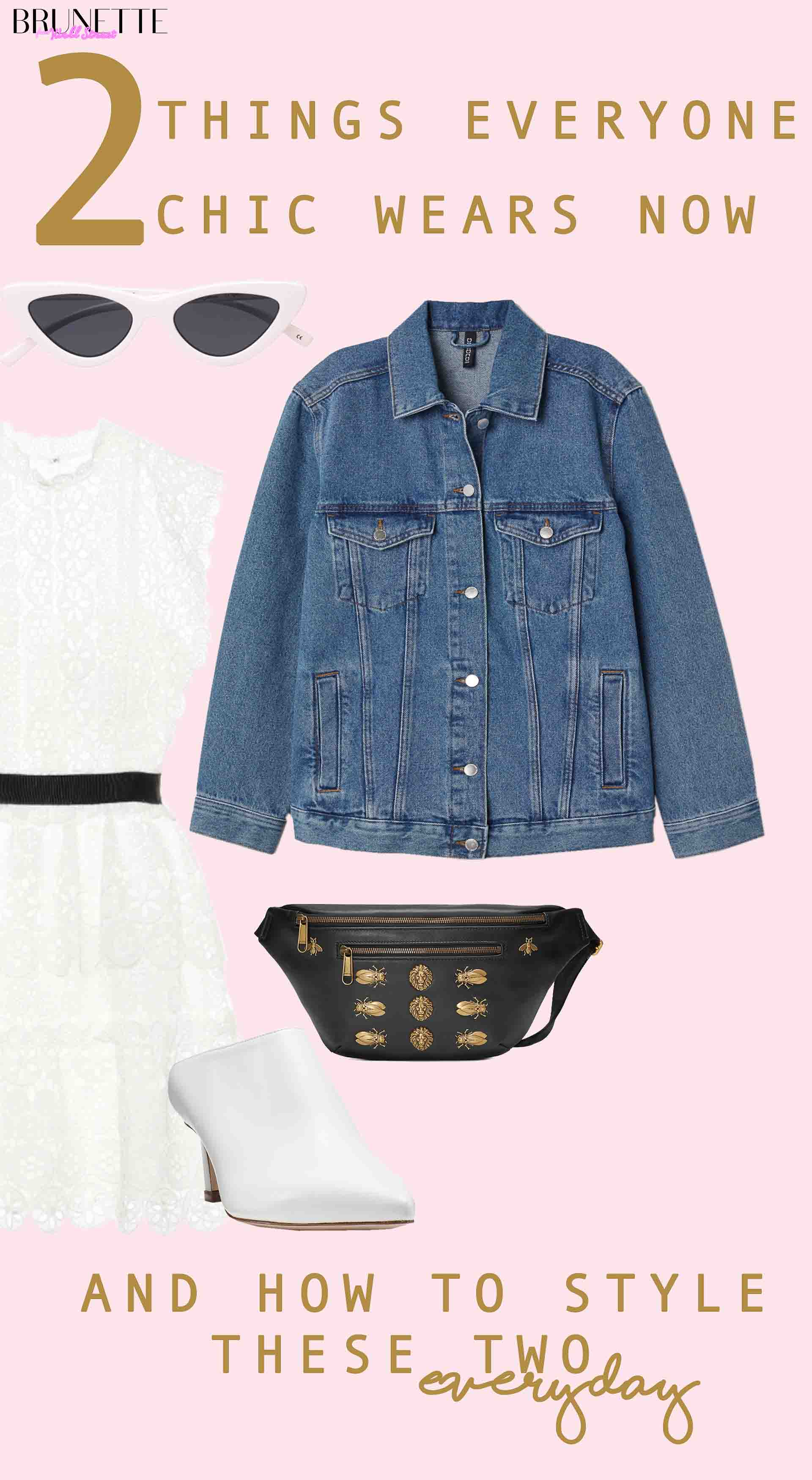 Gucci black beltbag, Stuart Weitzman white mira mules, blue denim jacket, white Self-Portrait dress, Le Specs white lolita cat eye sunglasses with text overlay 2 THINGS EVERYONE CHIC WEARS NOW and how to style these two everyday