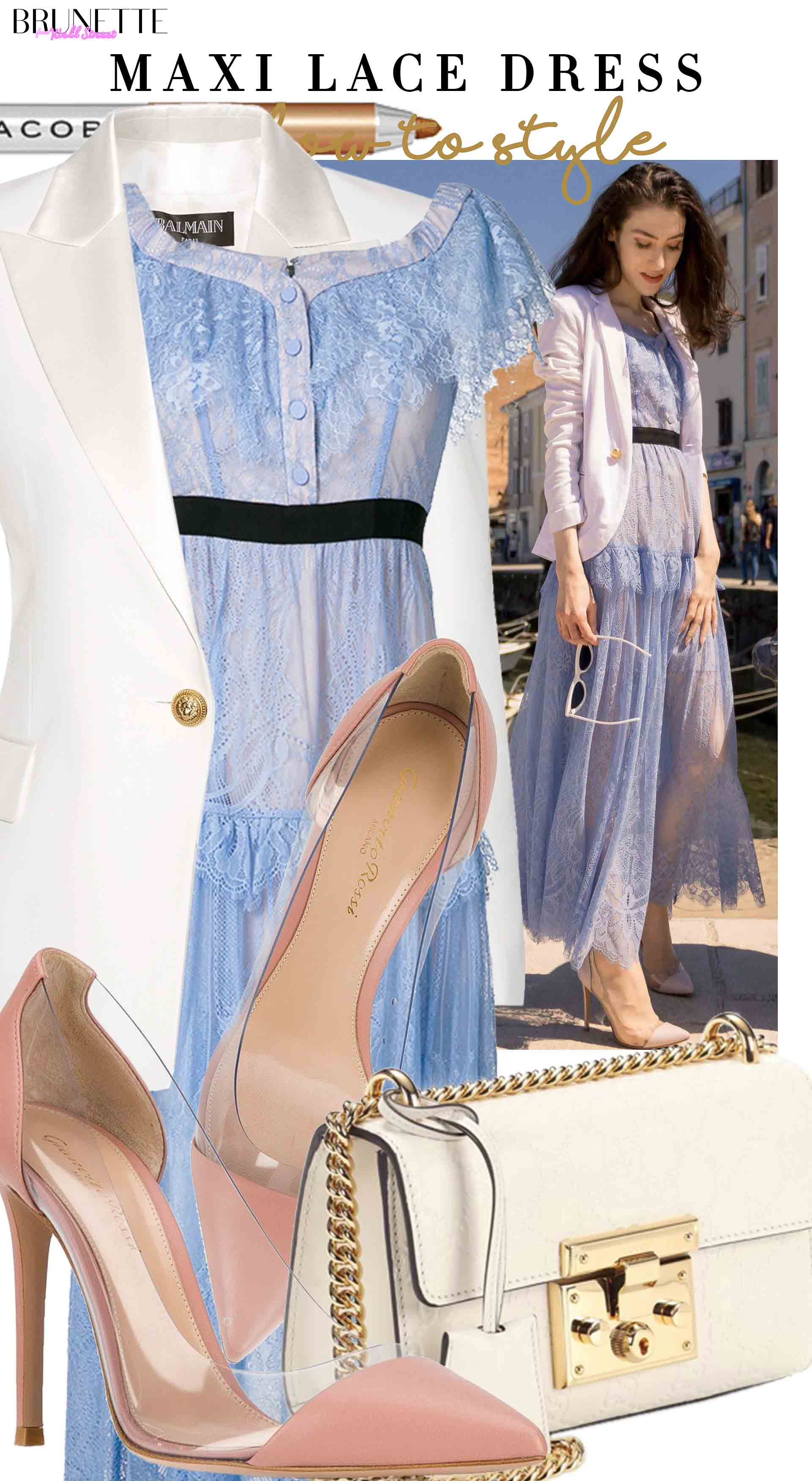 Brunette from Wall Street how to style maxi lace dress for wedding as a guest