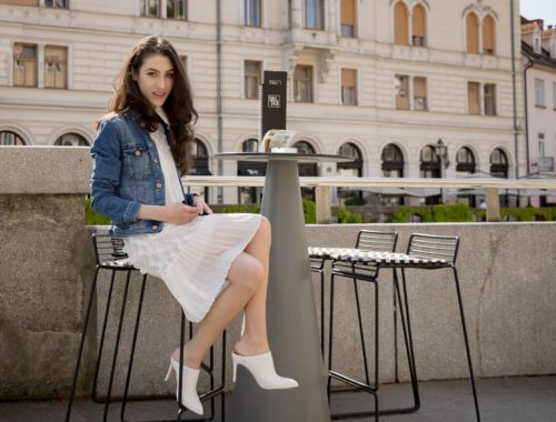 Veronika Lipar Fashion Editor of Brunette from Wall Street dressed in H&M blue denim jacket, Storets white pleated short dress, white mules and Adam Selman x Le Specs white cat eye Lolita sunglasses, black small bag sitting in the bar on the street