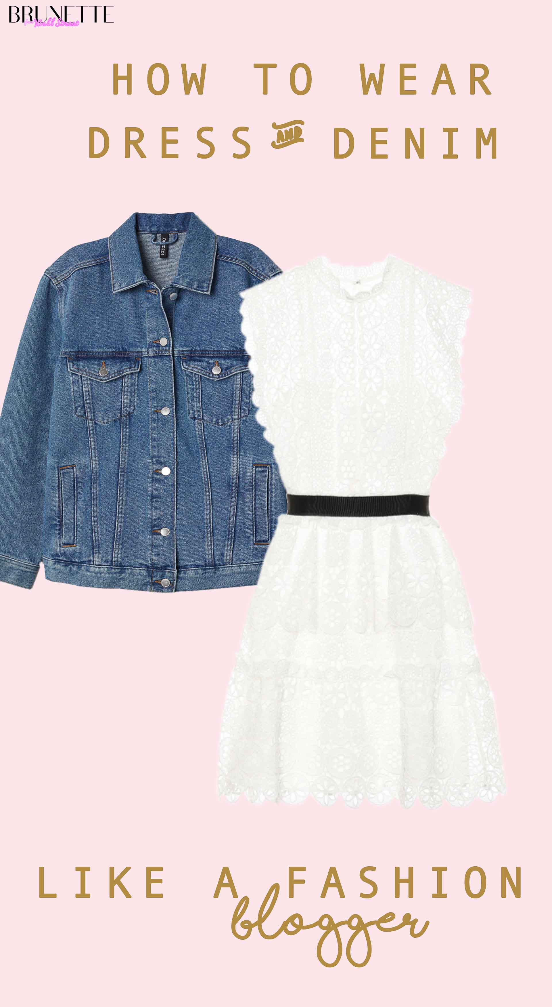 Self-Portrait white short dress, denim jacket with text overlay how to wear white dress and denim jacket like a fashion blogger