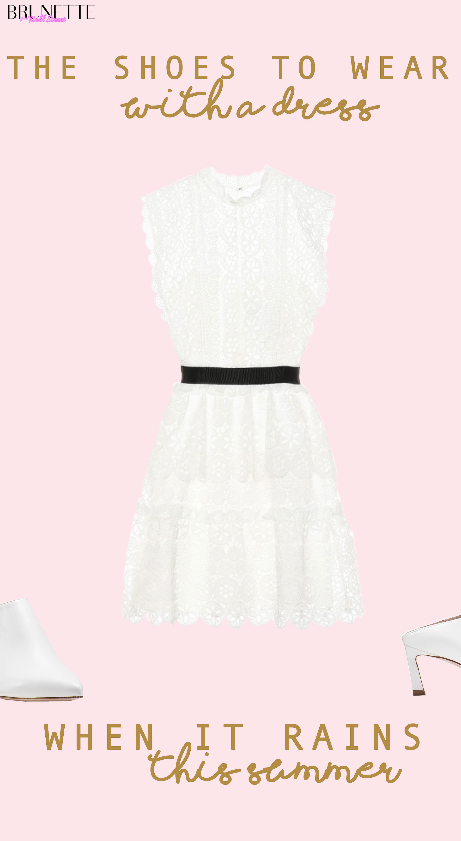 white lace Self-Portrait dress, white Stuart Weitzman mira mules with text overlay the shoes to wear with a white dress when it rains this summer