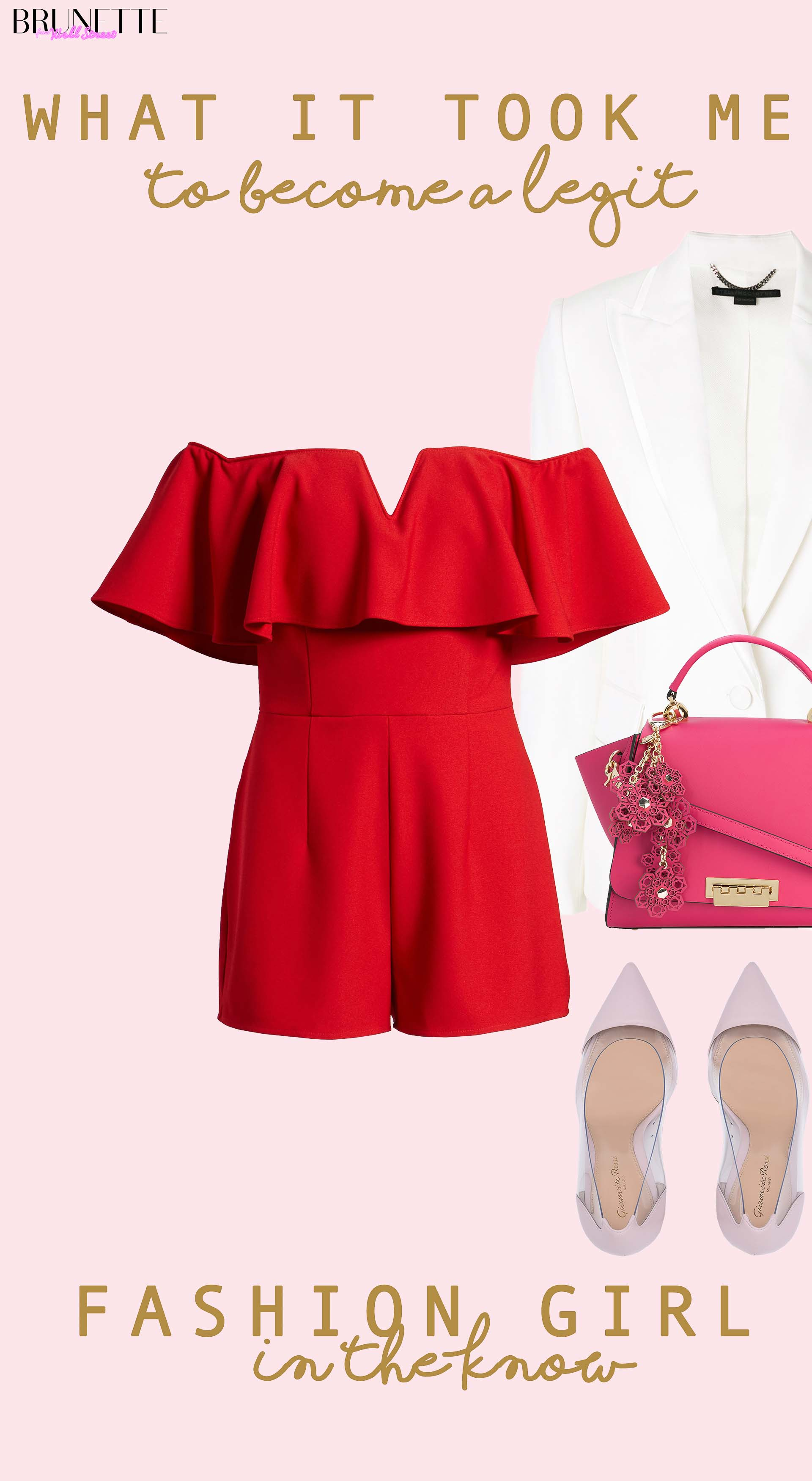 off the shoulder red romper, Gianvito Rossi pumps, Zac Posen pink tote, white blazer with text overlay what it took me to become a legit fashion girl in the know