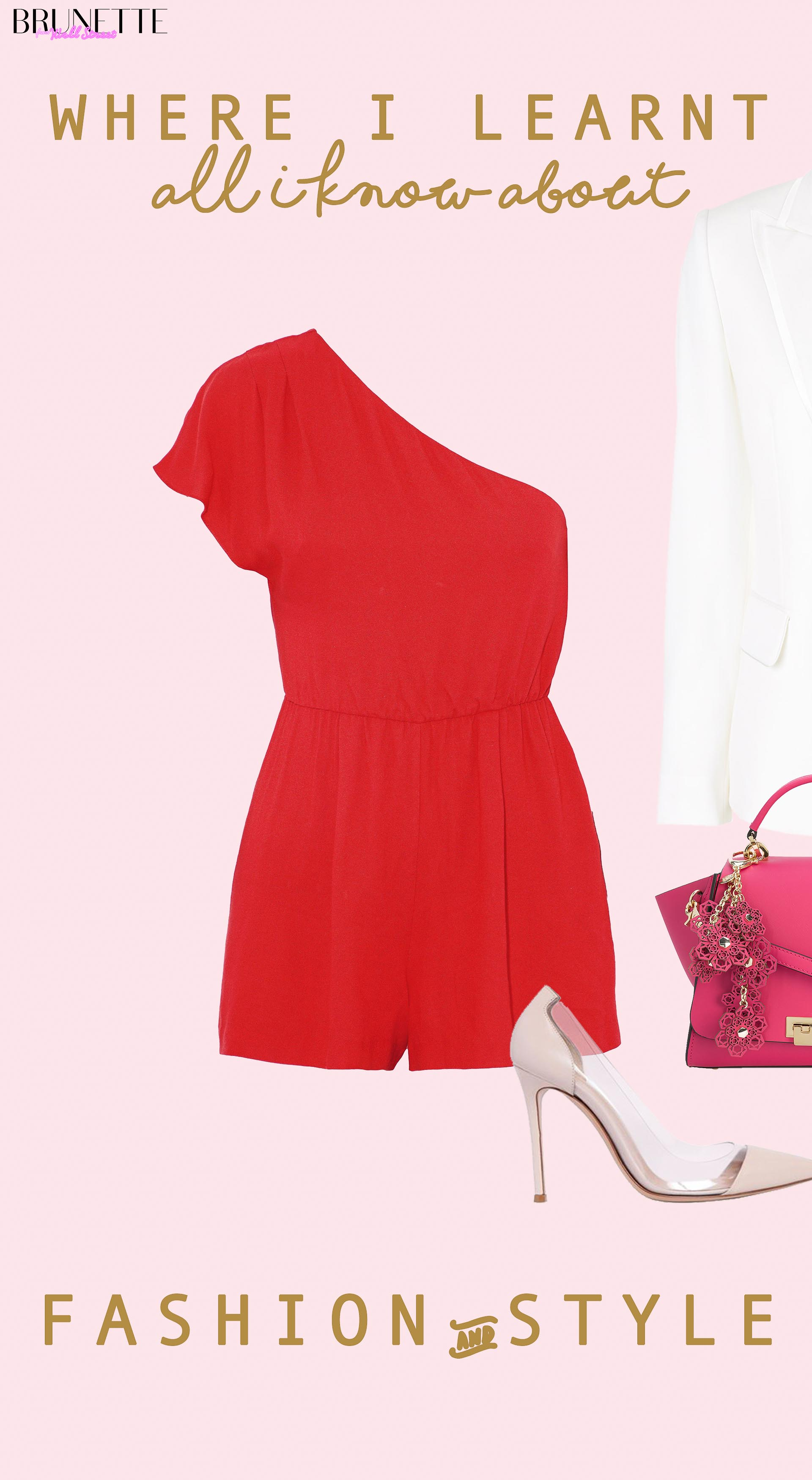 one side shoulder red romper, zac zac posen pink tote top handle bag, gianvito rossi pumps with text overlay where I learnt all I know about fashion and style