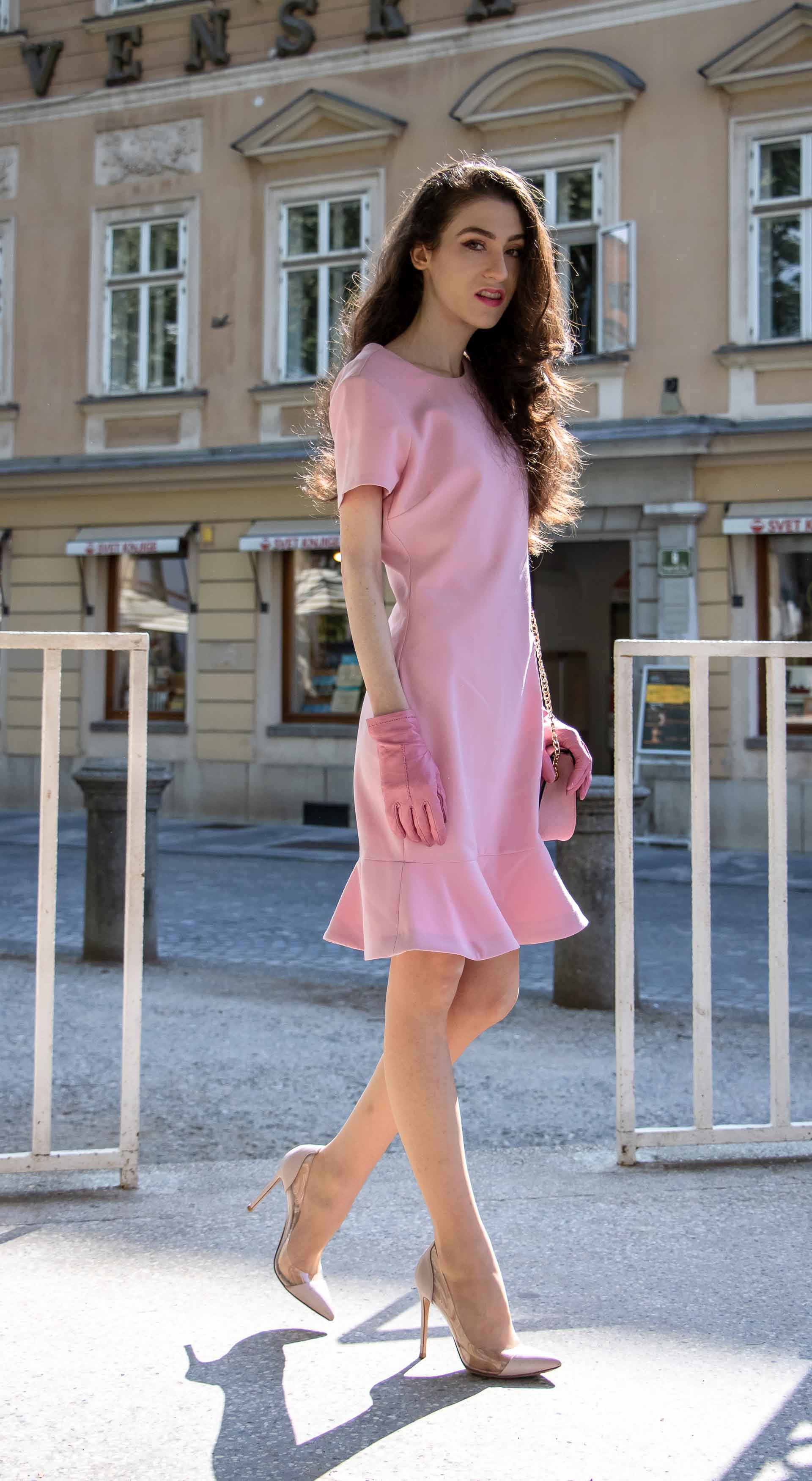 Beautiful Slovenian Fashion Blogger Veronika Lipar of Brunette from Wall dressed in lilac flounce short dress, pvc Gianvito Rossi plexi pumps, Furla metropolis shoulder bag for a Sunday brunch with his parents in Ljubljana