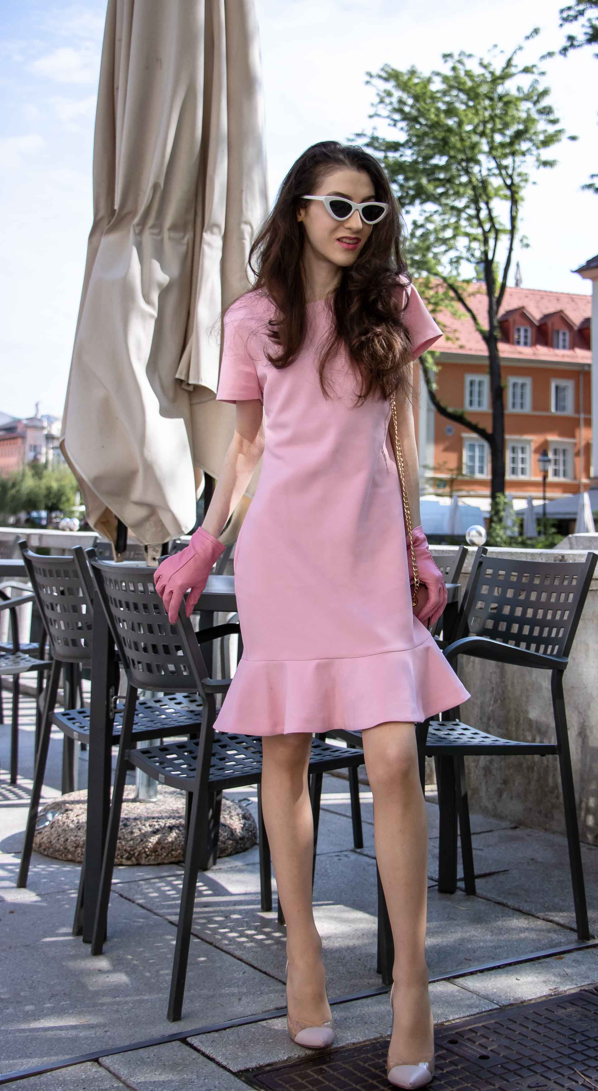 Beautiful Slovenian Fashion Blogger Veronika Lipar of Brunette from Wall dressed in lilac flounce short dress, pvc Gianvito Rossi plexi pumps, Furla metropolis shoulder bag for a Sunday brunch with mother in law at the bar