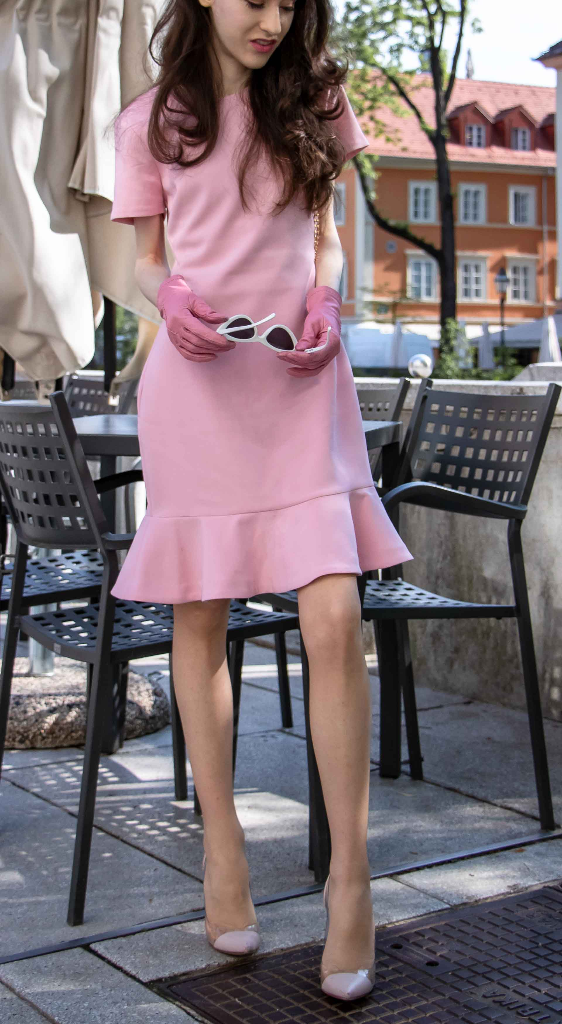 Beautiful Slovenian Fashion Blogger Veronika Lipar of Brunette from Wall wearing lilac flounce short dress, pvc Gianvito Rossi plexi pumps, Furla metropolis shoulder bag for a Sunday brunch with mother in law