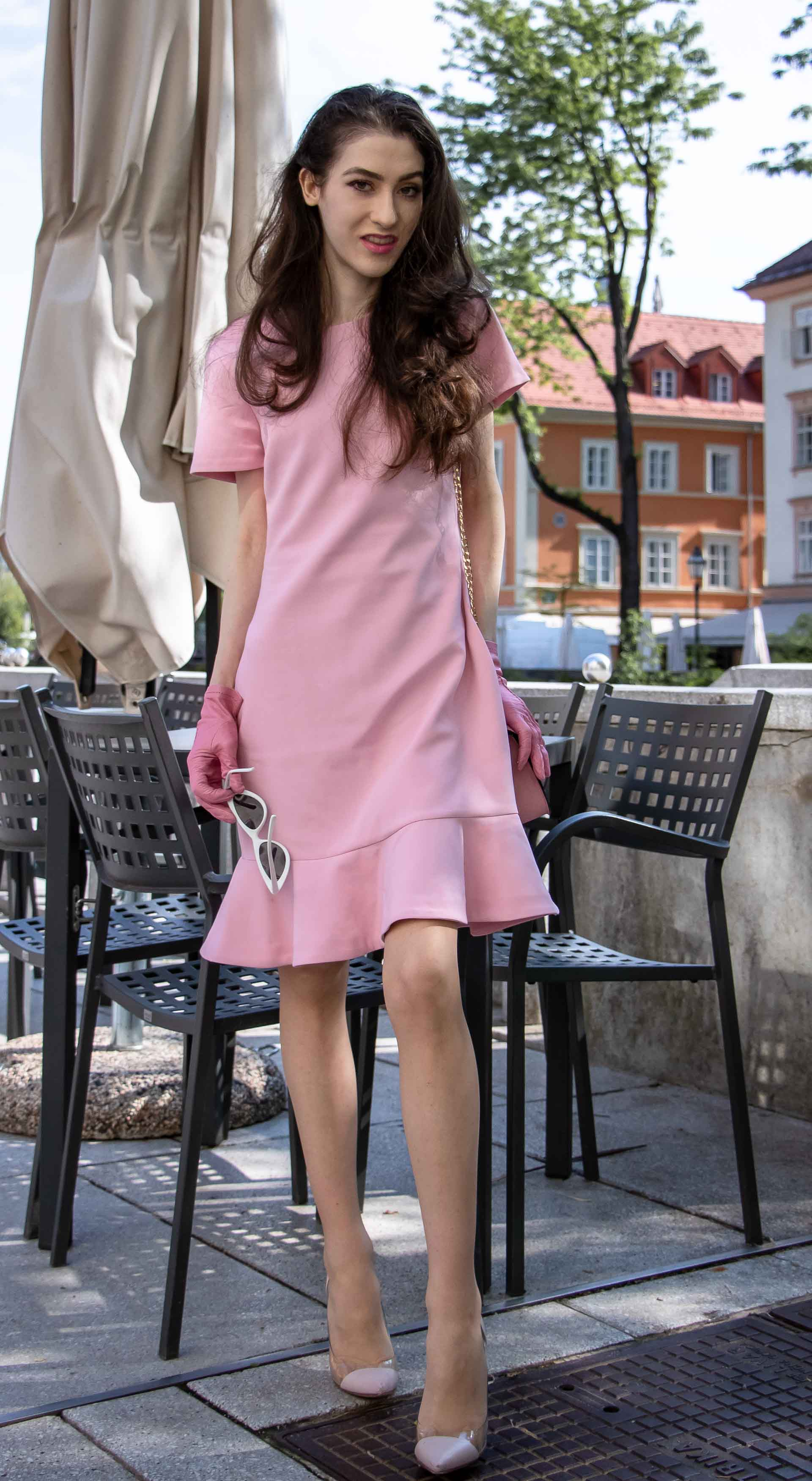 Beautiful Slovenian Fashion Blogger Veronika Lipar of Brunette from Wall dressed in lilac flounce short dress, pvc Gianvito Rossi plexi pumps, Furla metropolis shoulder bag for a Sunday brunch with mother in law