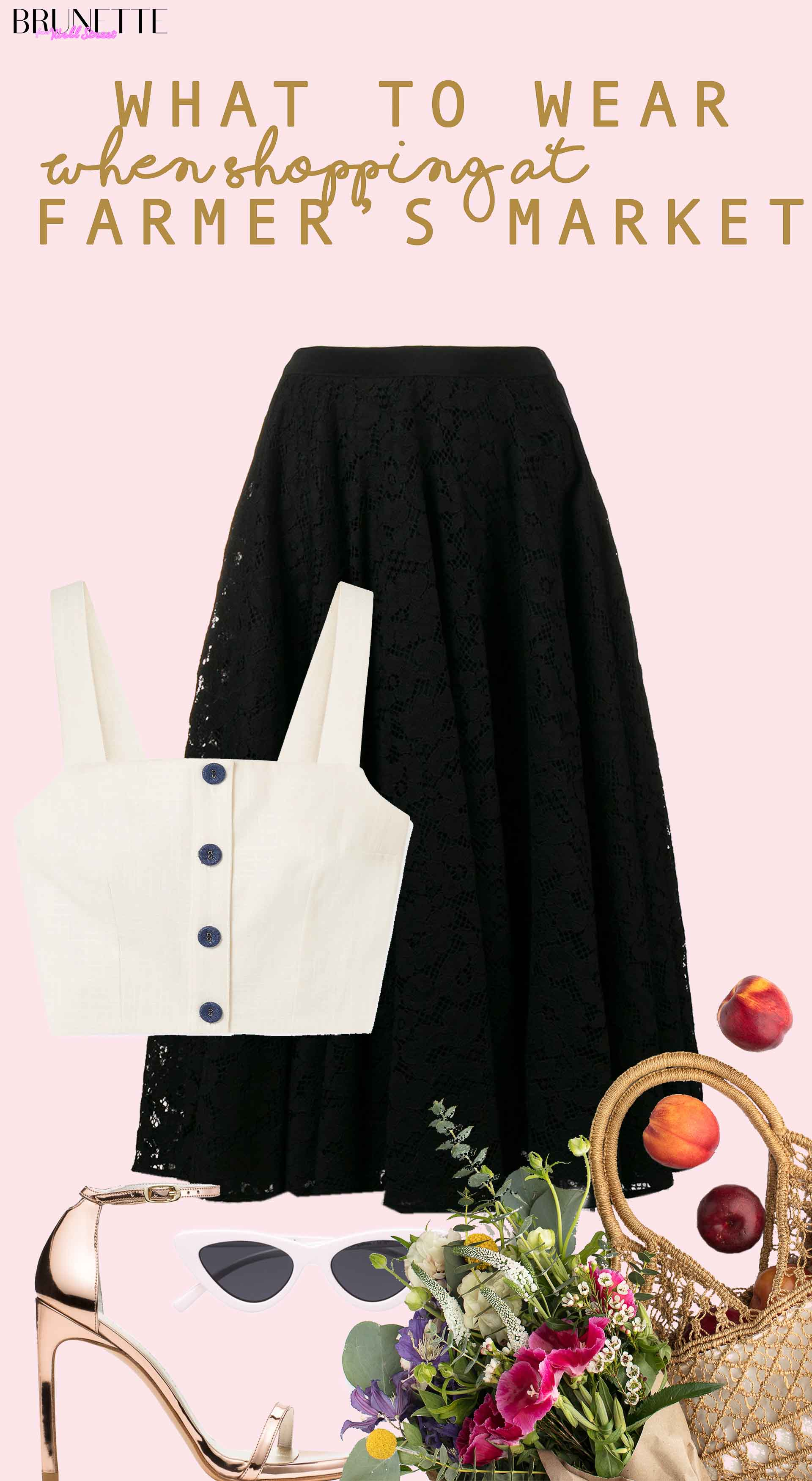linen crop top, black skirt, cat eye sunglasses, metallic sandals, vegetables with text overlay what to wear when shopping at farmer's market
