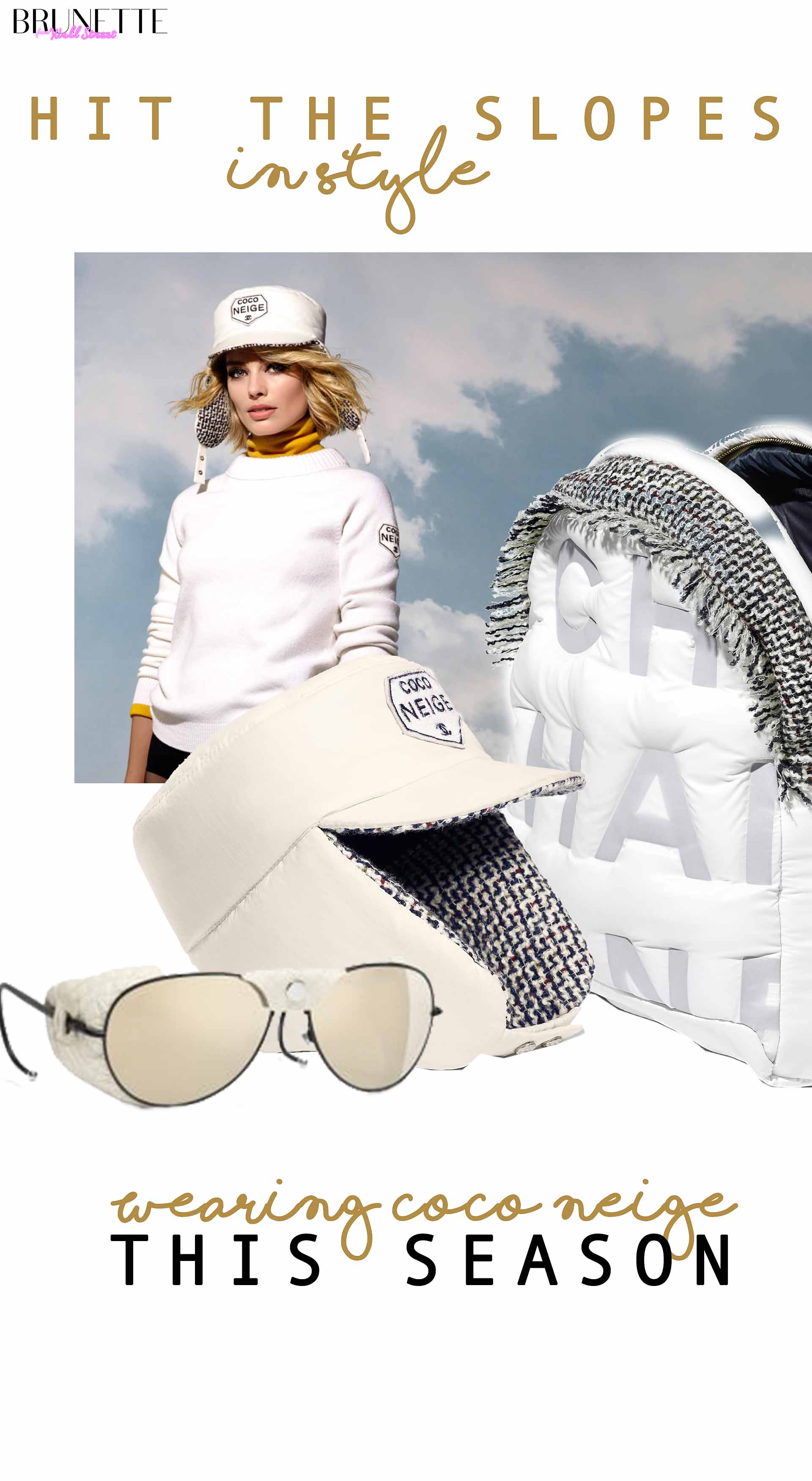 Chanel sunglasses, Chanel backpack, Chanel hat with text overlay Hit the slopes in style wearing Coco Beige this season
