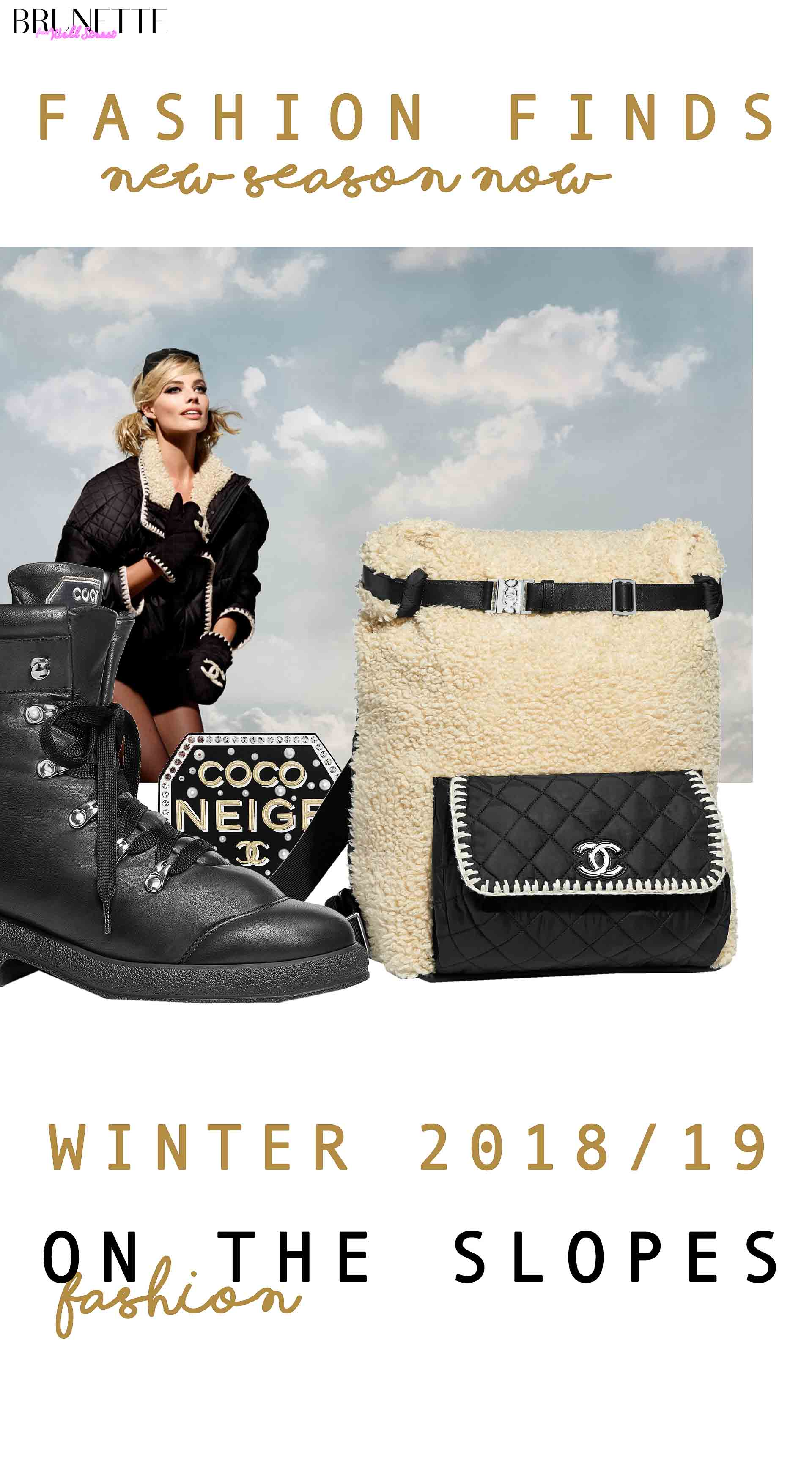Chanel boots, Chanel bag with text overlay Fashion Finds new season now winter 2018/19 fashion on the slopes