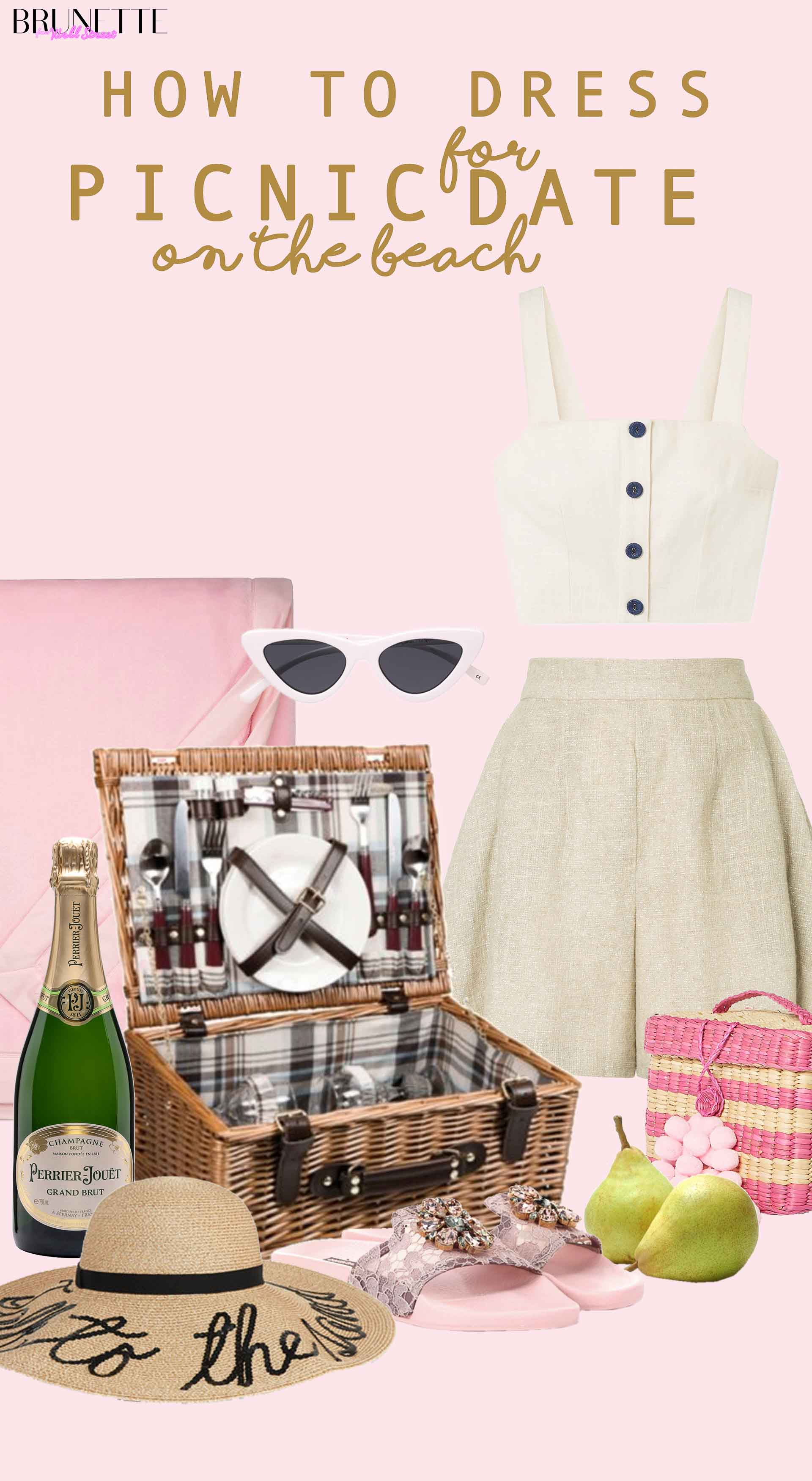 Eugenia Kim straw hat, picnic basket, picnic outfit with text overlay How to dress for picnic date on the beach