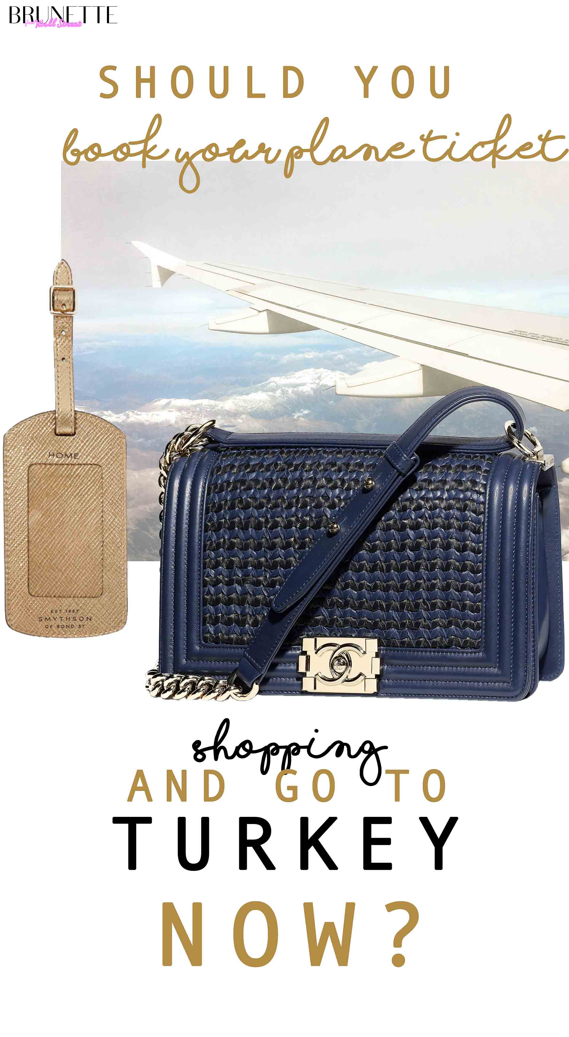 blue navy Chanel boy bag with text overlay Should you book your plane ticket ang go shopping to turkey now