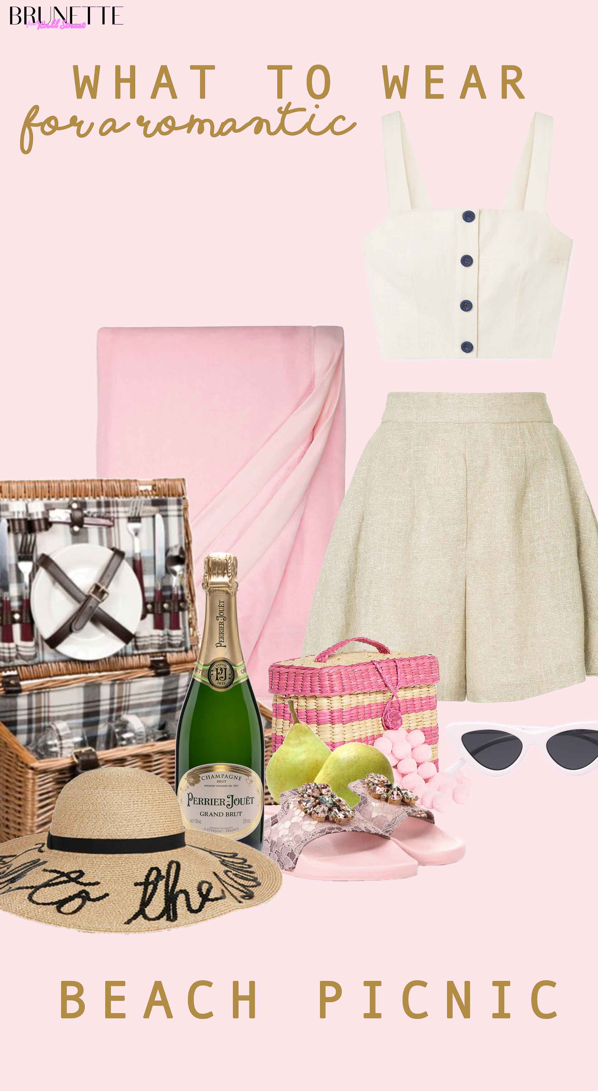 picnic basket, straw hat, Dolce Gabbana slides, Zimmerman shorts, Staud crop top, Nannacay basket bag, pink picnic blanket, champagne, Le Specs cat eye sunglasses with text overlay What to wear for a romantic beach picnic