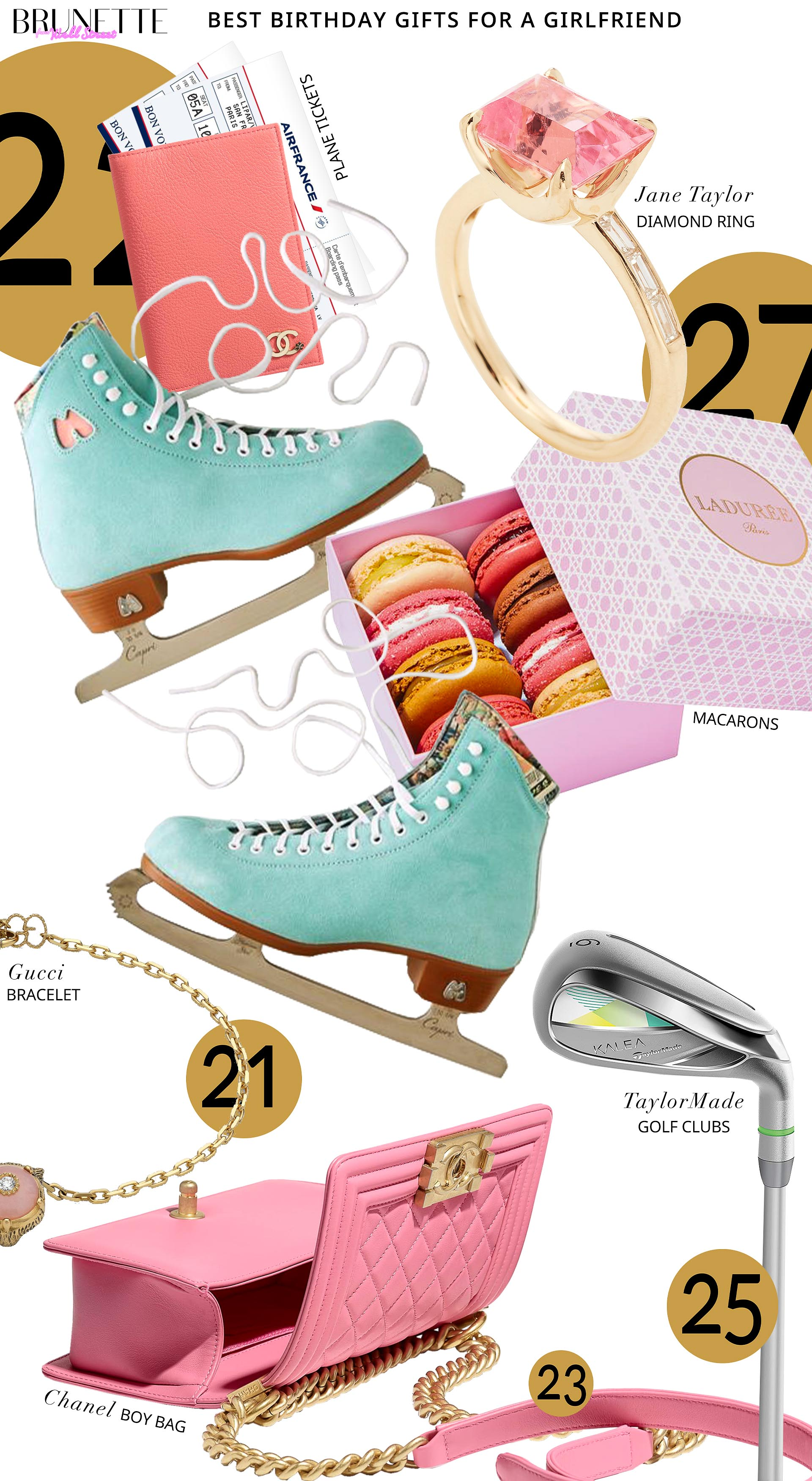 Brunette from Wall Street Best birthday presents for a girlfriend Chanel bag ice skates laduree macarons Chanel passport cover plane tickets engagement ring kalea golf club