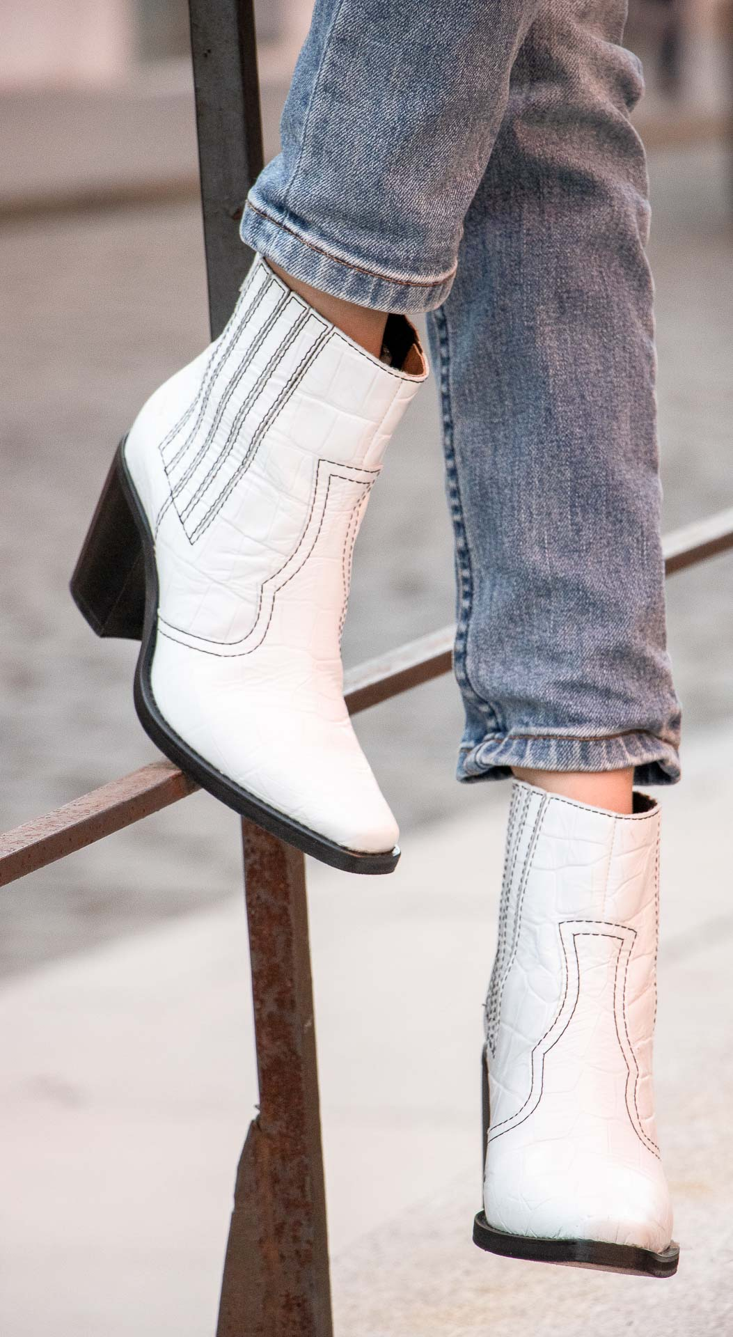 Ganni white western boots details jeans