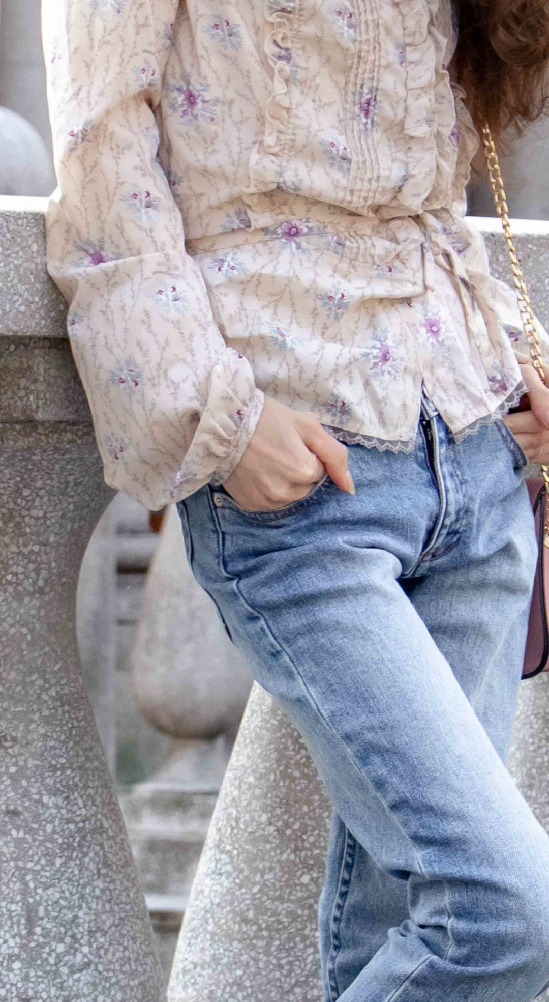 Beautiful Slovenian Fashion Blogger Veronika Lipar of Brunette from Wall floral long sleeved Prairie blouse, A.P.C. blue jeans on the street in fall in Ljubljana