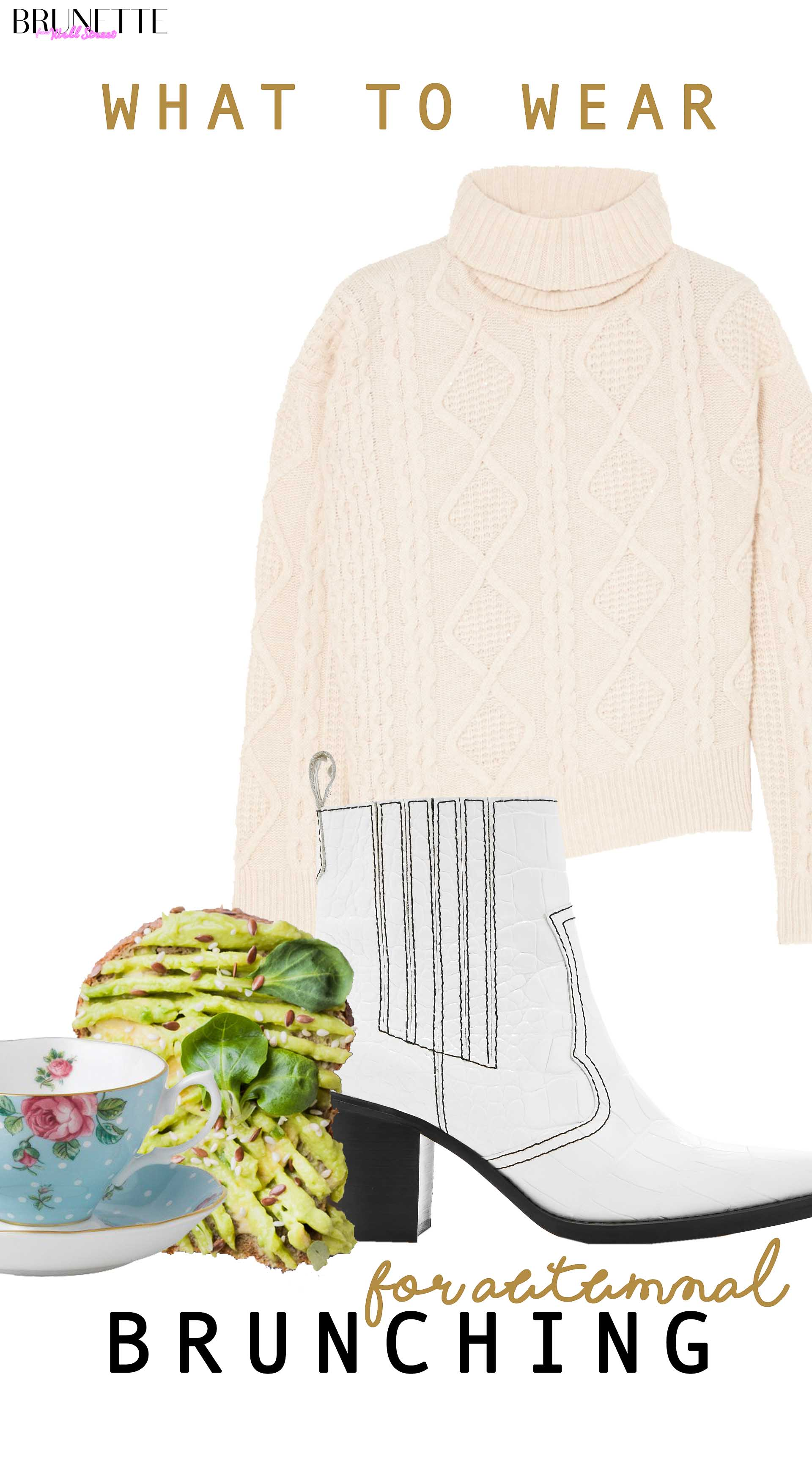 avocado toast, polka dot teacup, turtleneck sweater, white Ganni cowboy boots with text overlay What to wear for autumnal brunching with girl friends